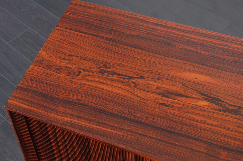 Danish Modern Rosewood Tambour Doors Credenza by Ole Wanscher
