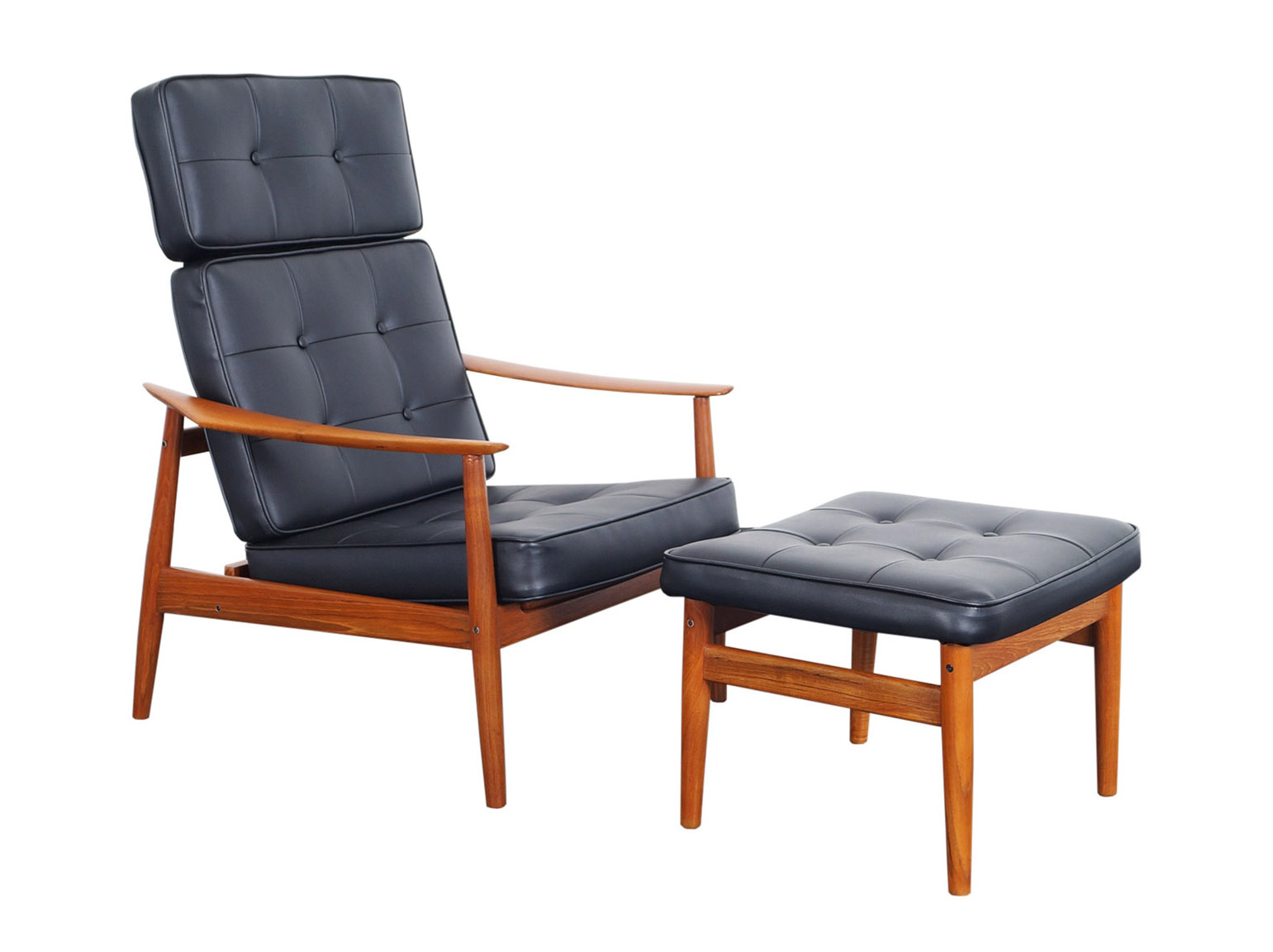 Danish Modern Reclining Lounge Chairs & Ottoman by Arne Vodder