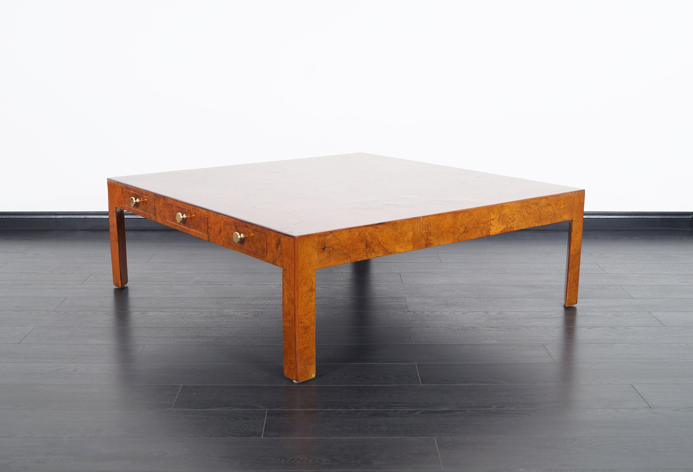 Vintage Italian Burl Wood Coffee Table by Cannell & Chaffin