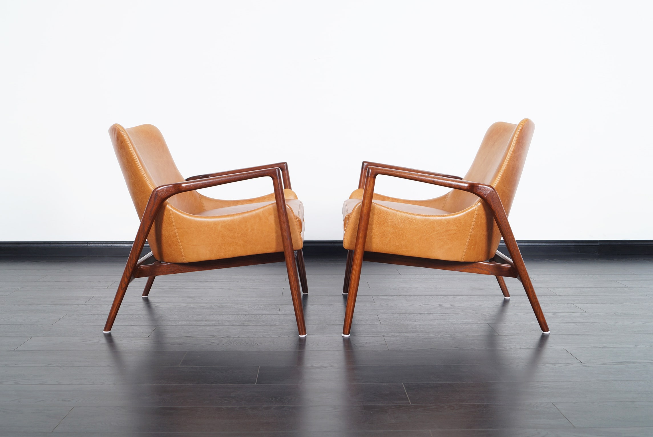 Danish Modern Leather Lounge Chairs by Ib Kofod Larsen