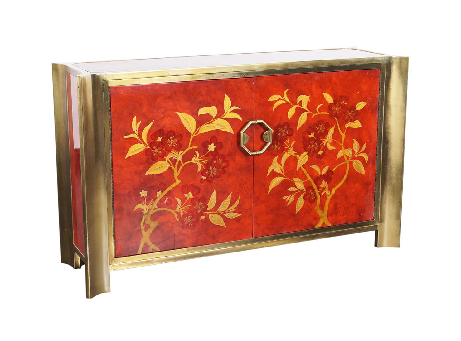 Exceptional Red Lacquered Credenza by Mastercraft