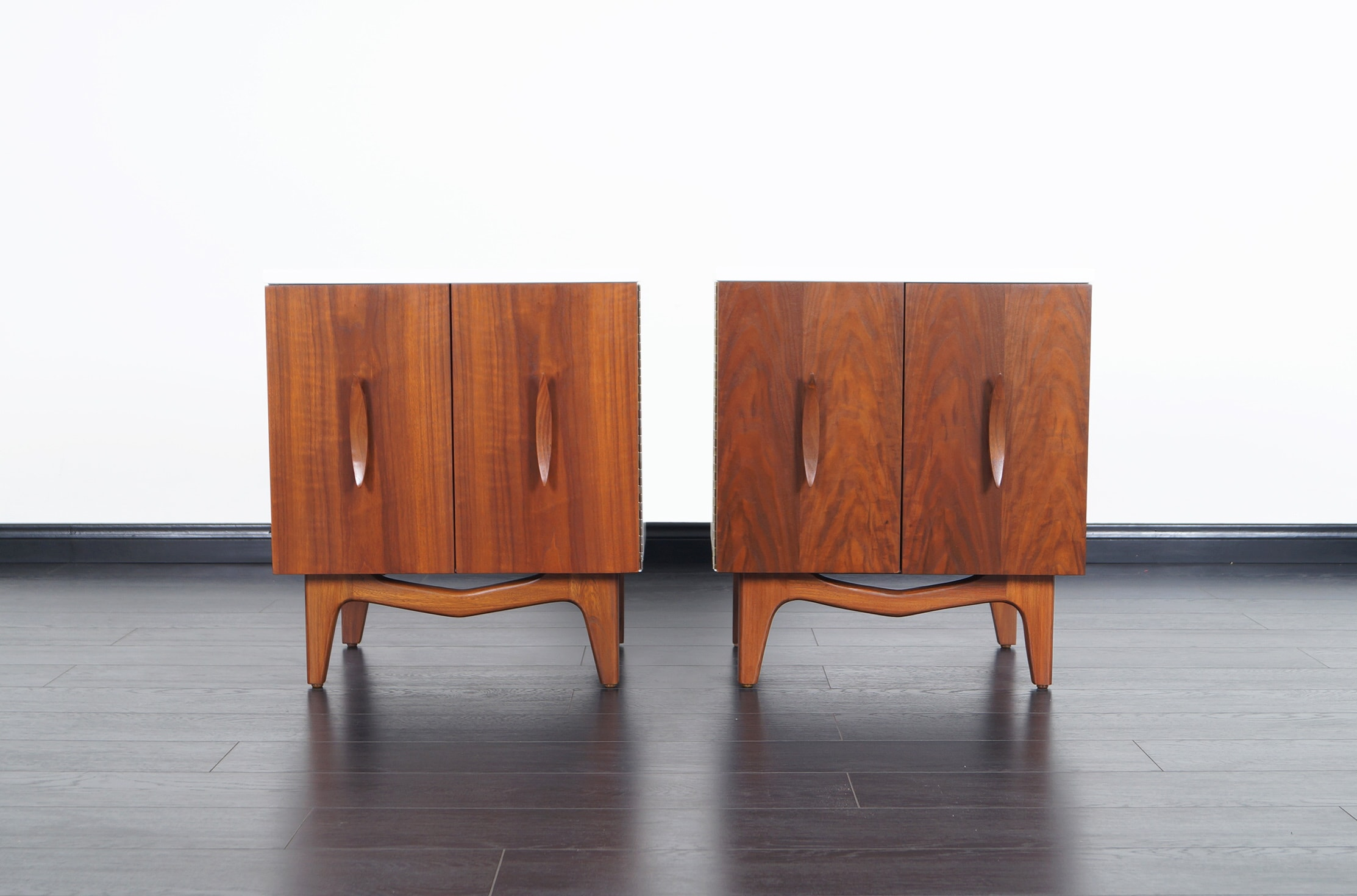 Mid Century Sculptural Nightstands