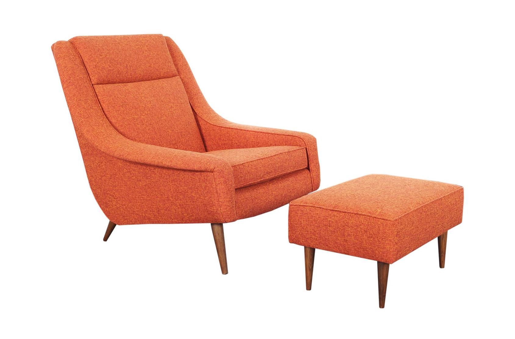 Mid Century Lounge Chair & Ottoman