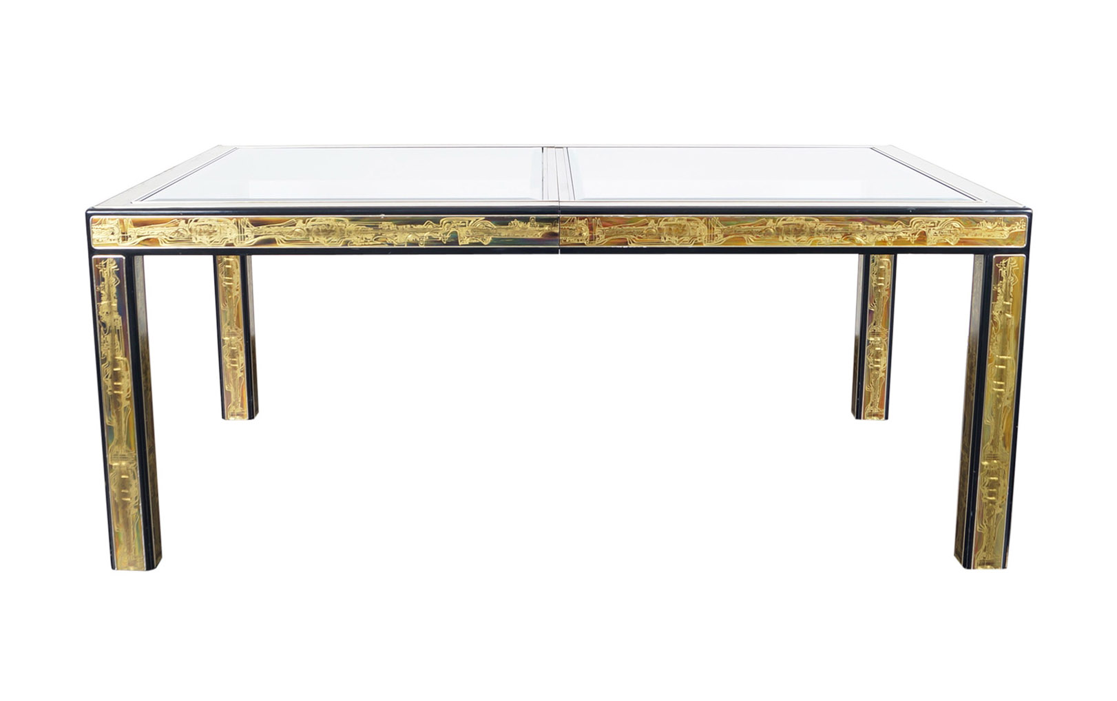 Vintage Etched Brass Dining Table by Mastercraft