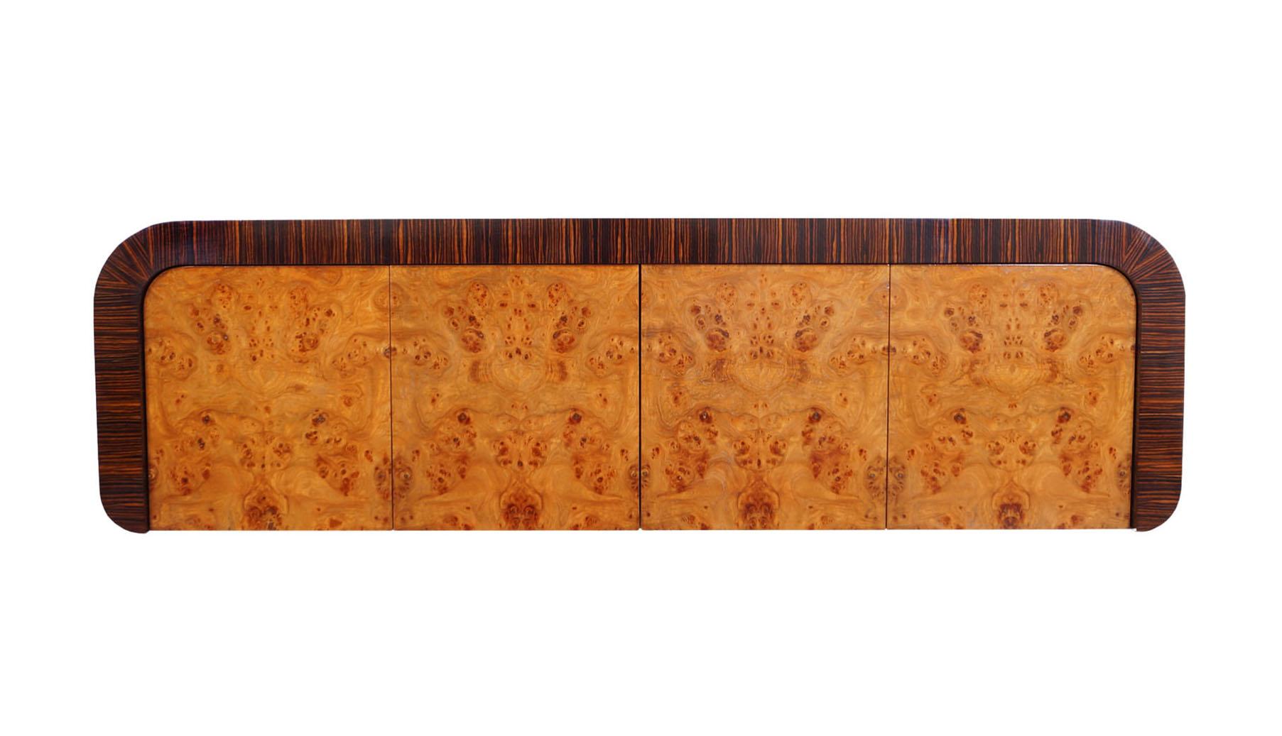 Vintage Burl Wood Wall Mounted Credenza