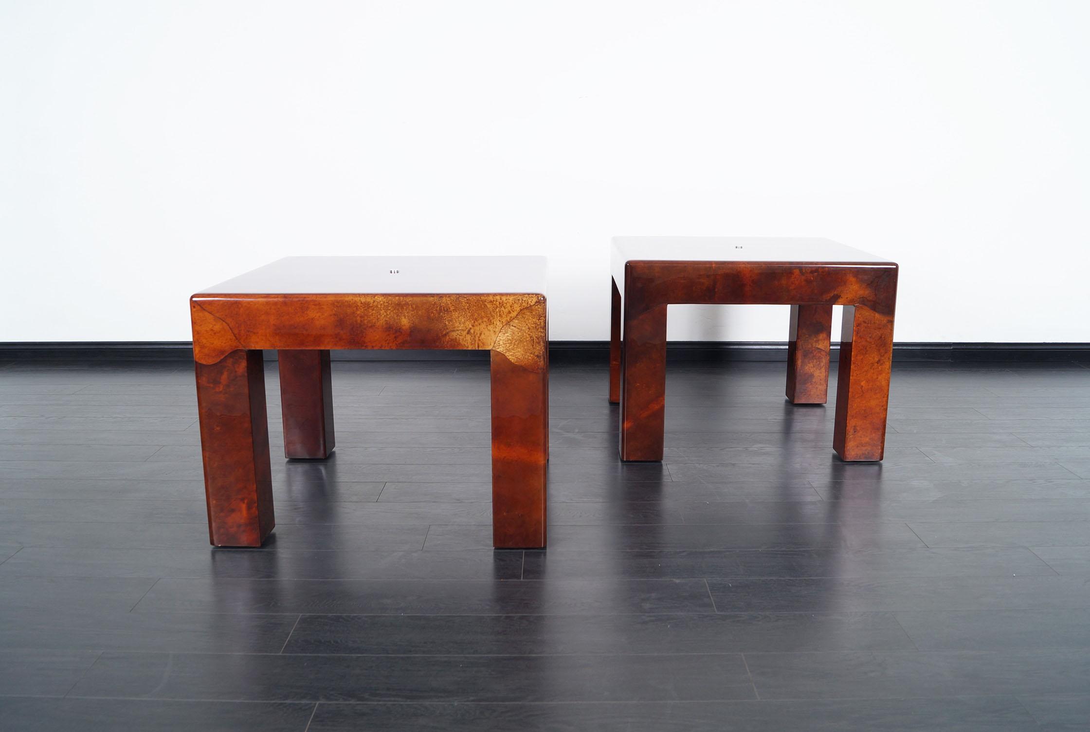 Vintage Parsons Goatskin Side Tables by Karl Springer