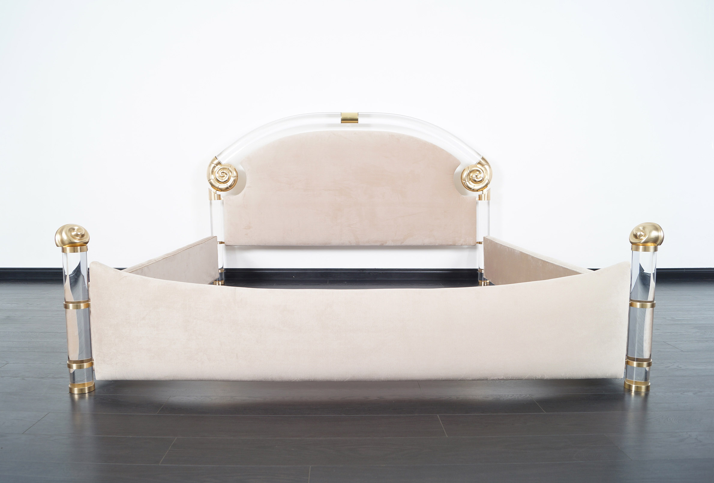 Exceptional Lucite & Brass King-Sized Bed by Marcello Mioni