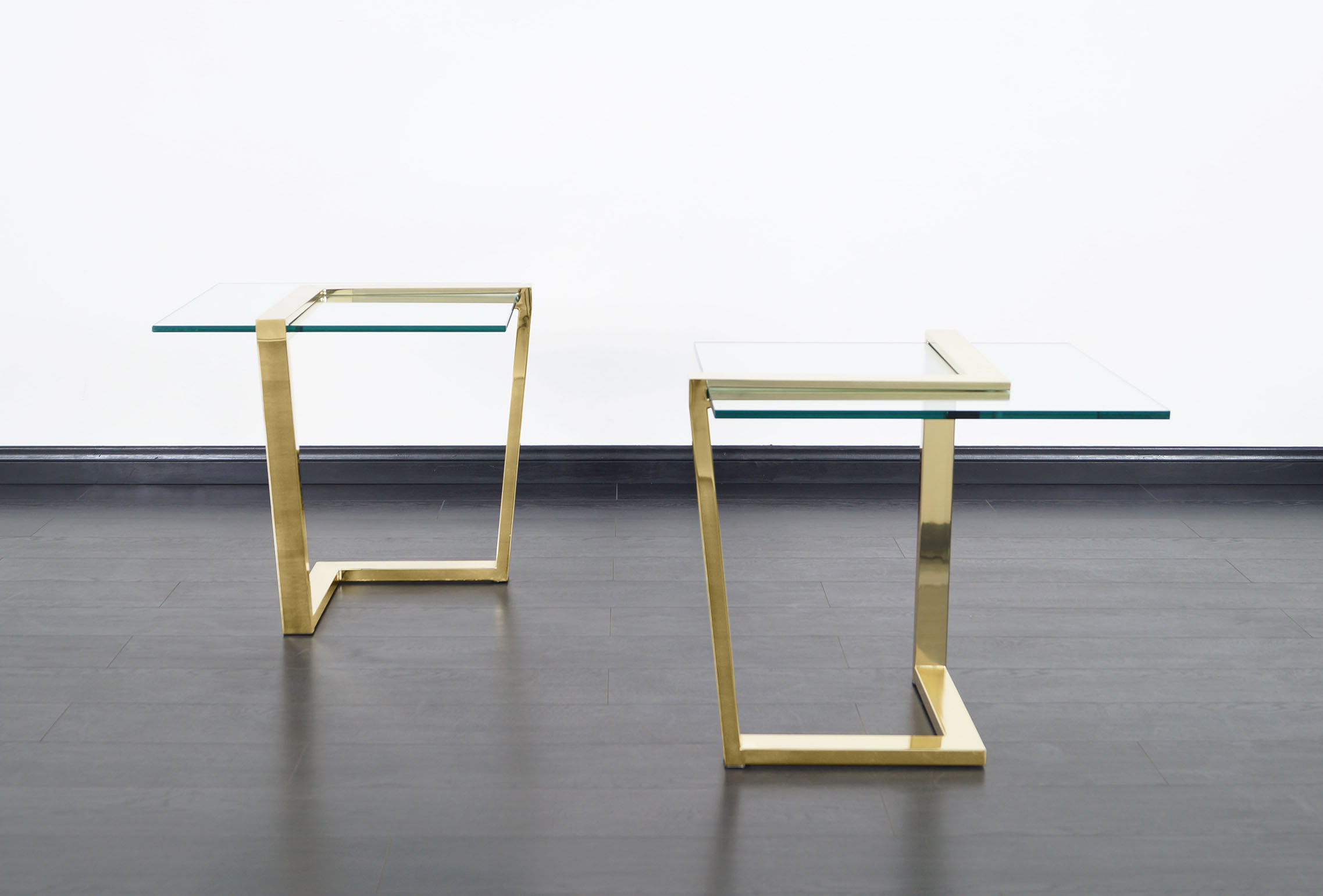 Vintage Brass Cantilevered Side Tables by DIA