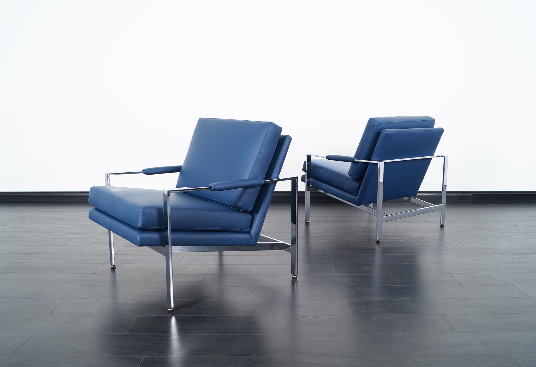 Vintage Leather Lounge Chairs by Milo Baughman