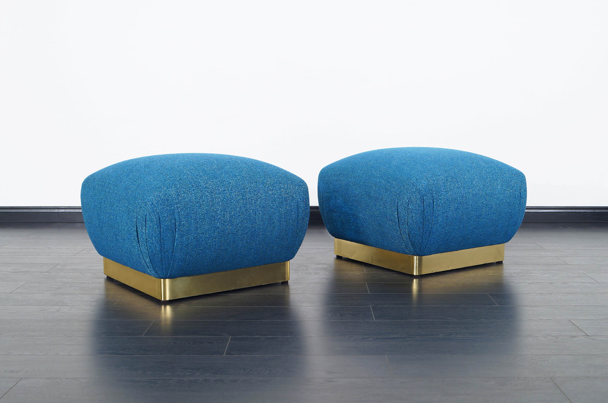 Vintage Oversized Brass Poufs by Marge Carson