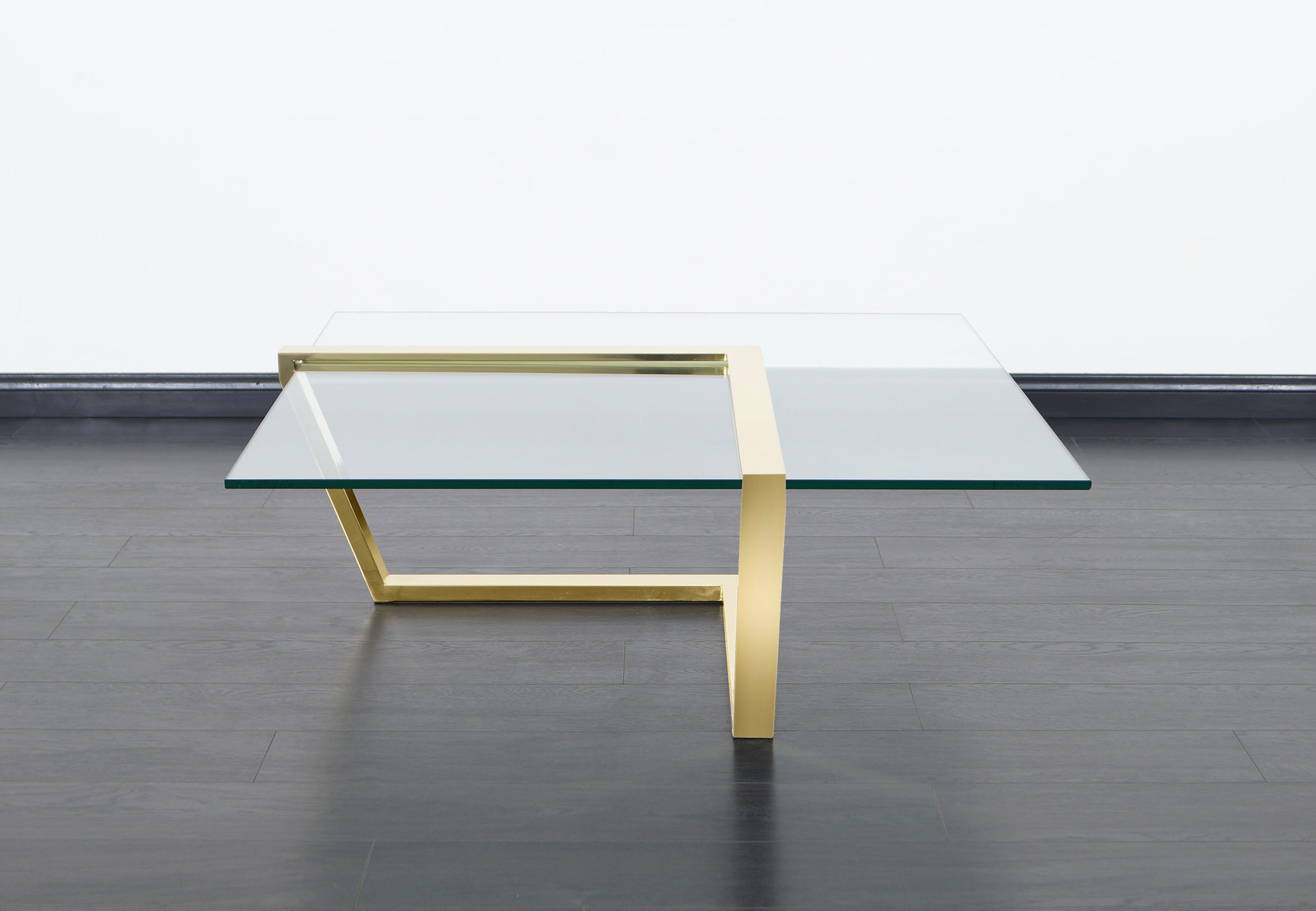 Vintage Brass Cantilevered Coffee Table by DIA