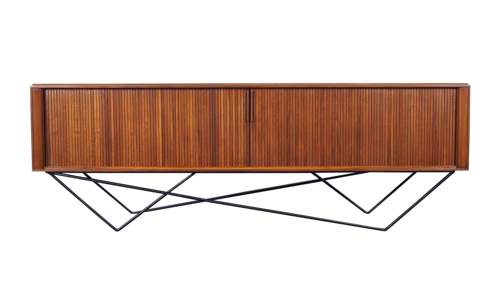 Architectural Walnut Tambour Door Credenza