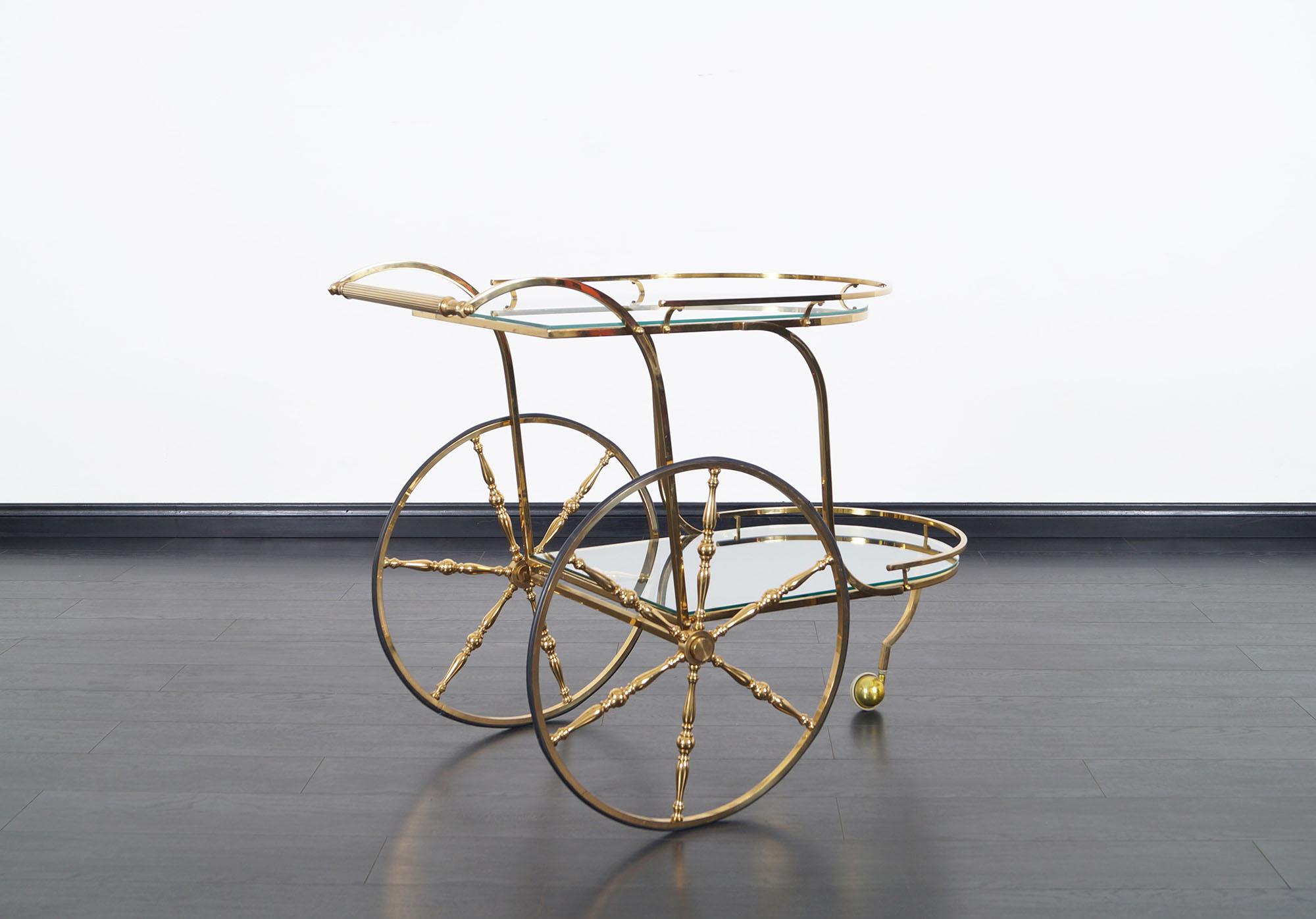 Vintage Italian Brass Bar Cart