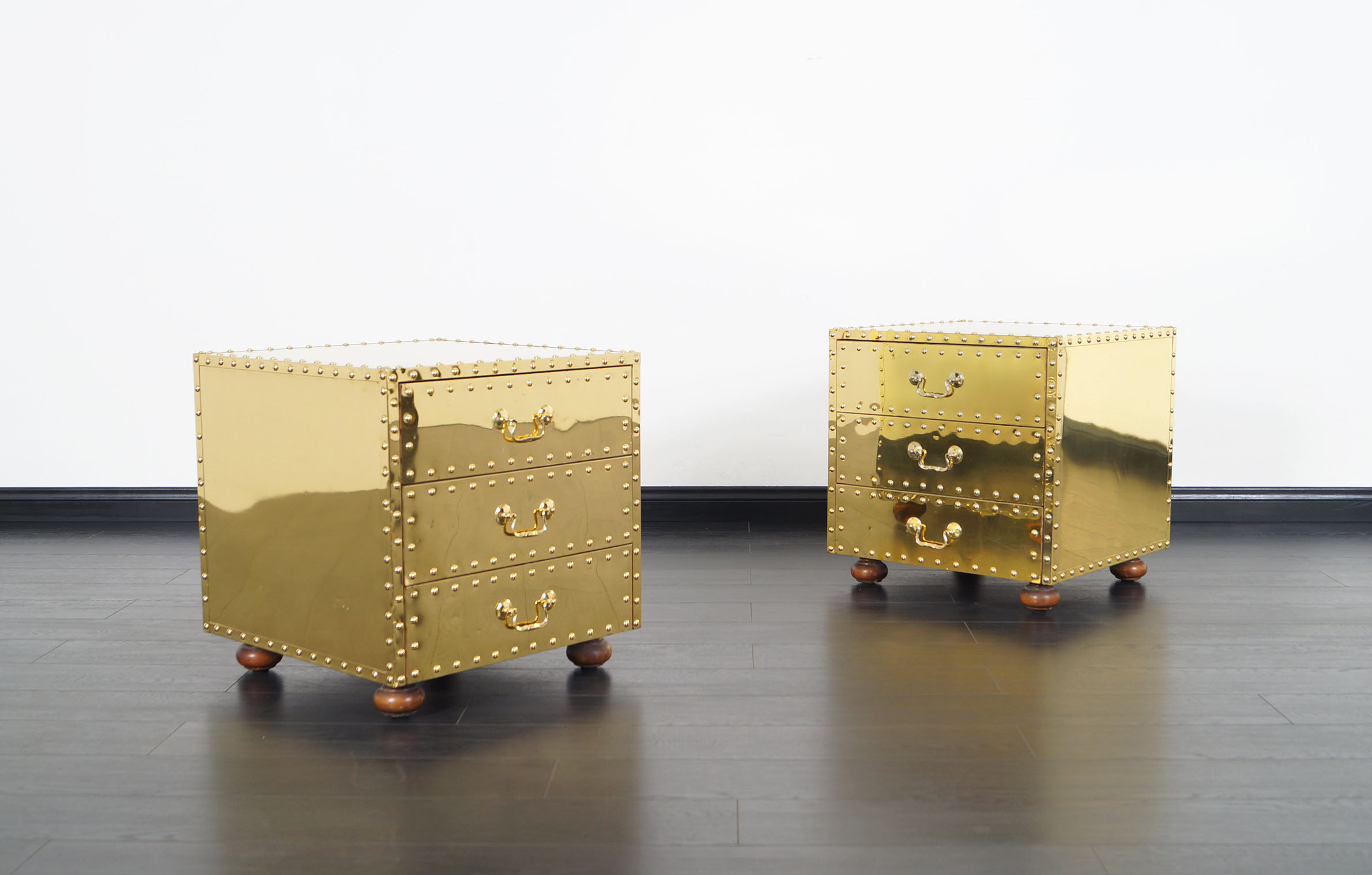 Vintage Brass Nightstands by Sarreid