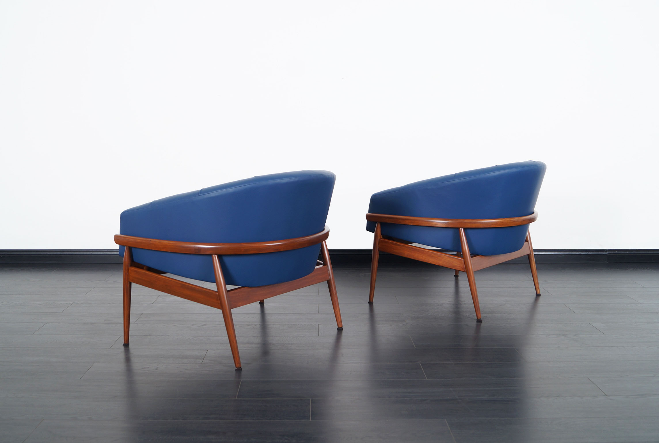 Vintage Leather Tufted Barrel Lounge Chairs by Milo Baughman