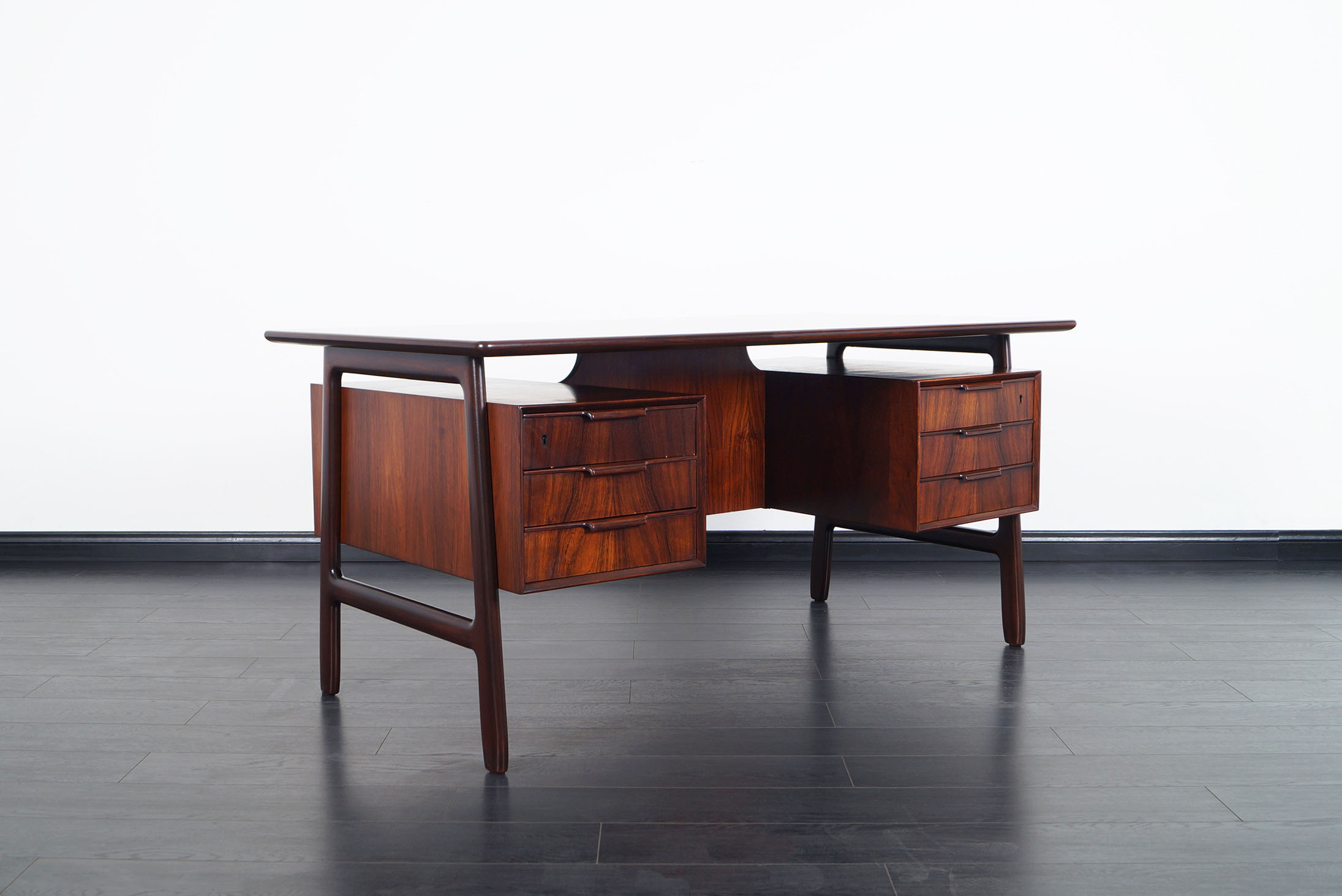 Danish Modern Rosewood Model #75 Desk by Gunni Omann