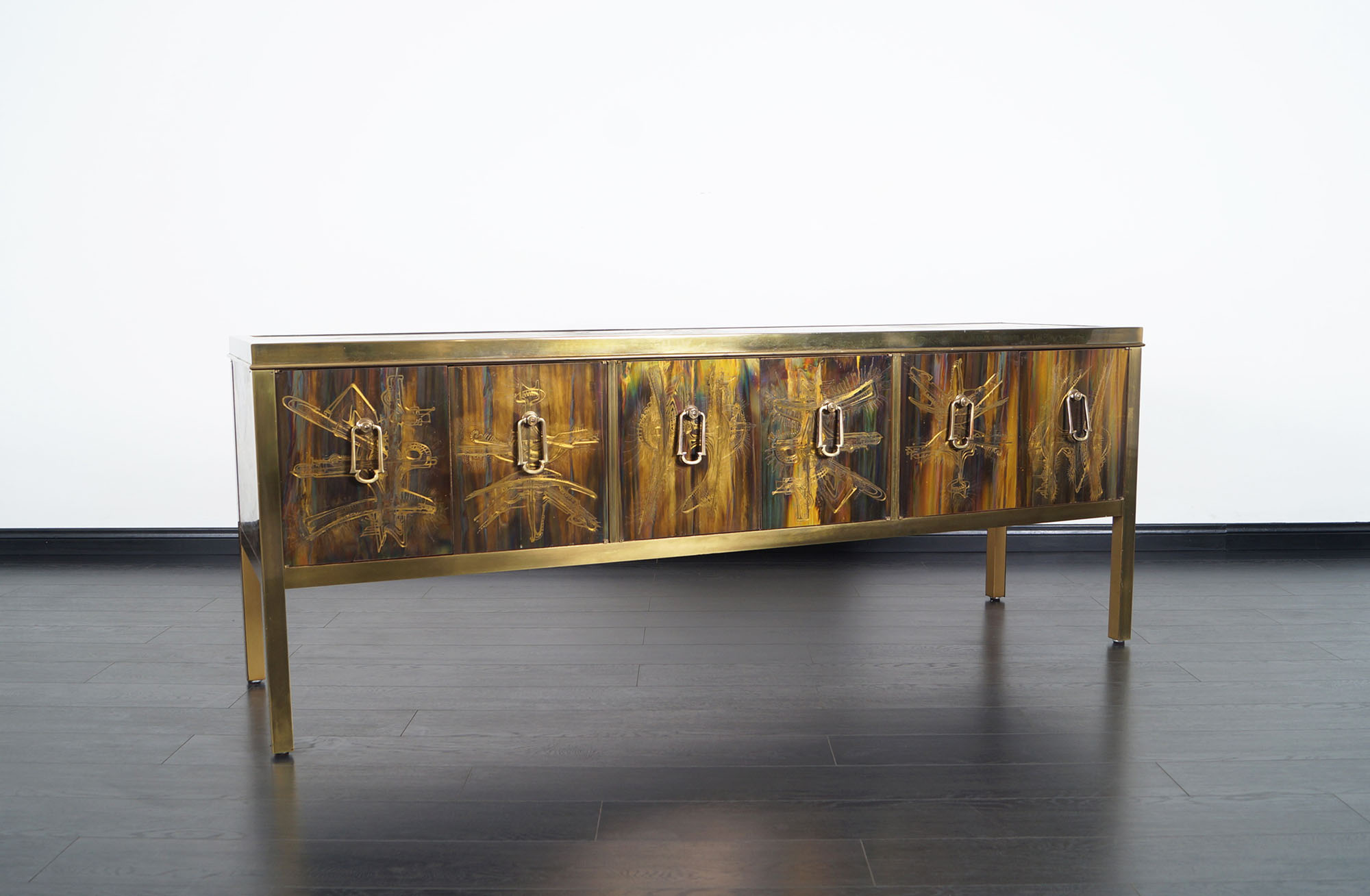 Vintage  Acid Etched Credenza by Bernhard Rohne for Mastercraft