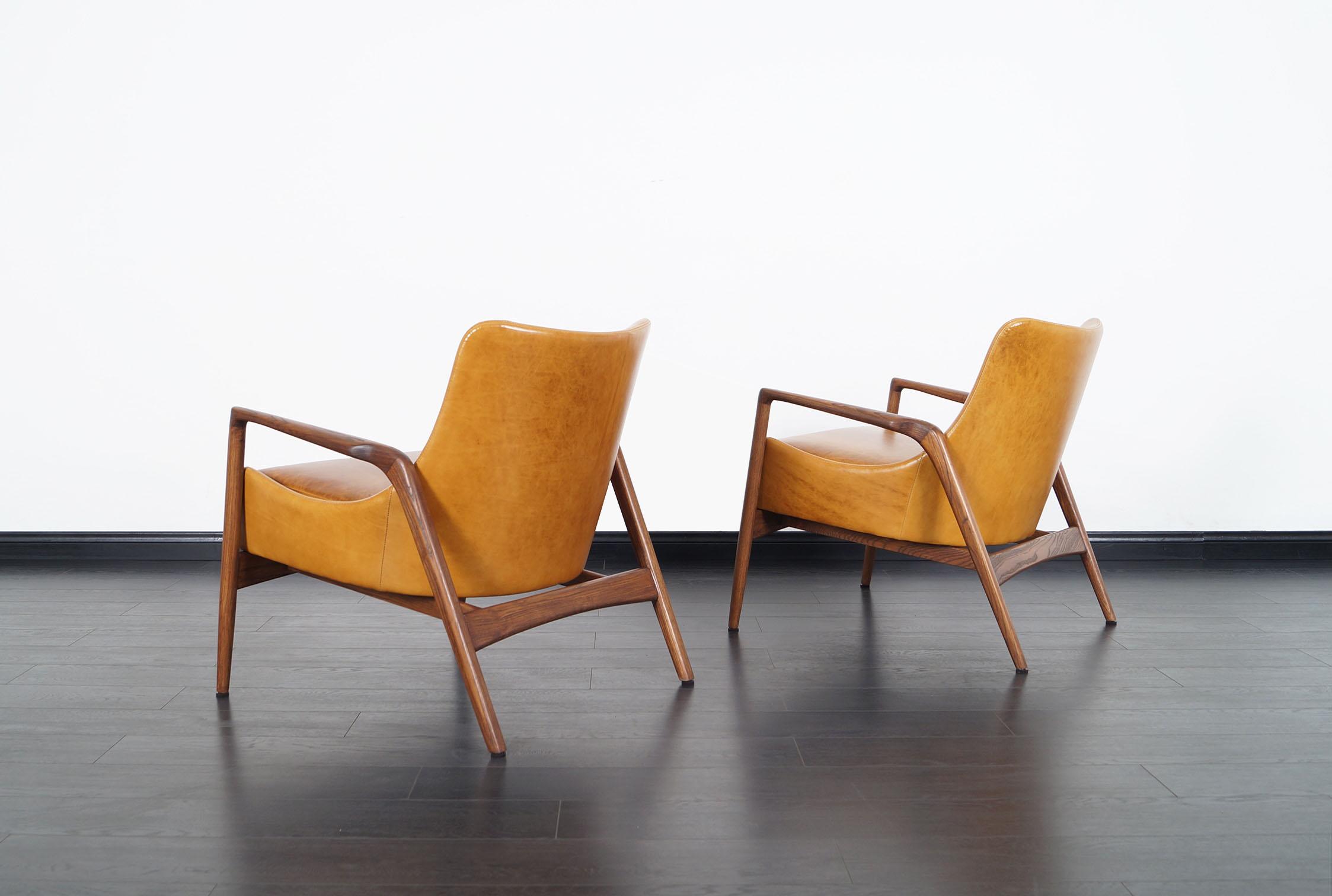 Danish Modern Leather Lounge Chairs by Ib Kofod Larsen