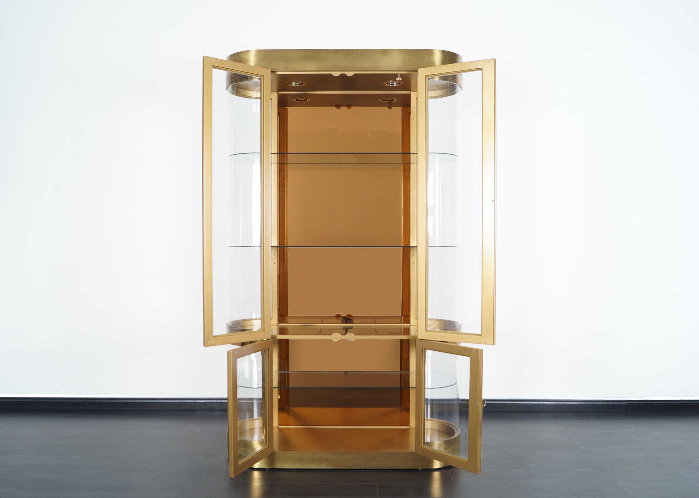Exceptional Brass Vitrine Cabinet by Mastercraft