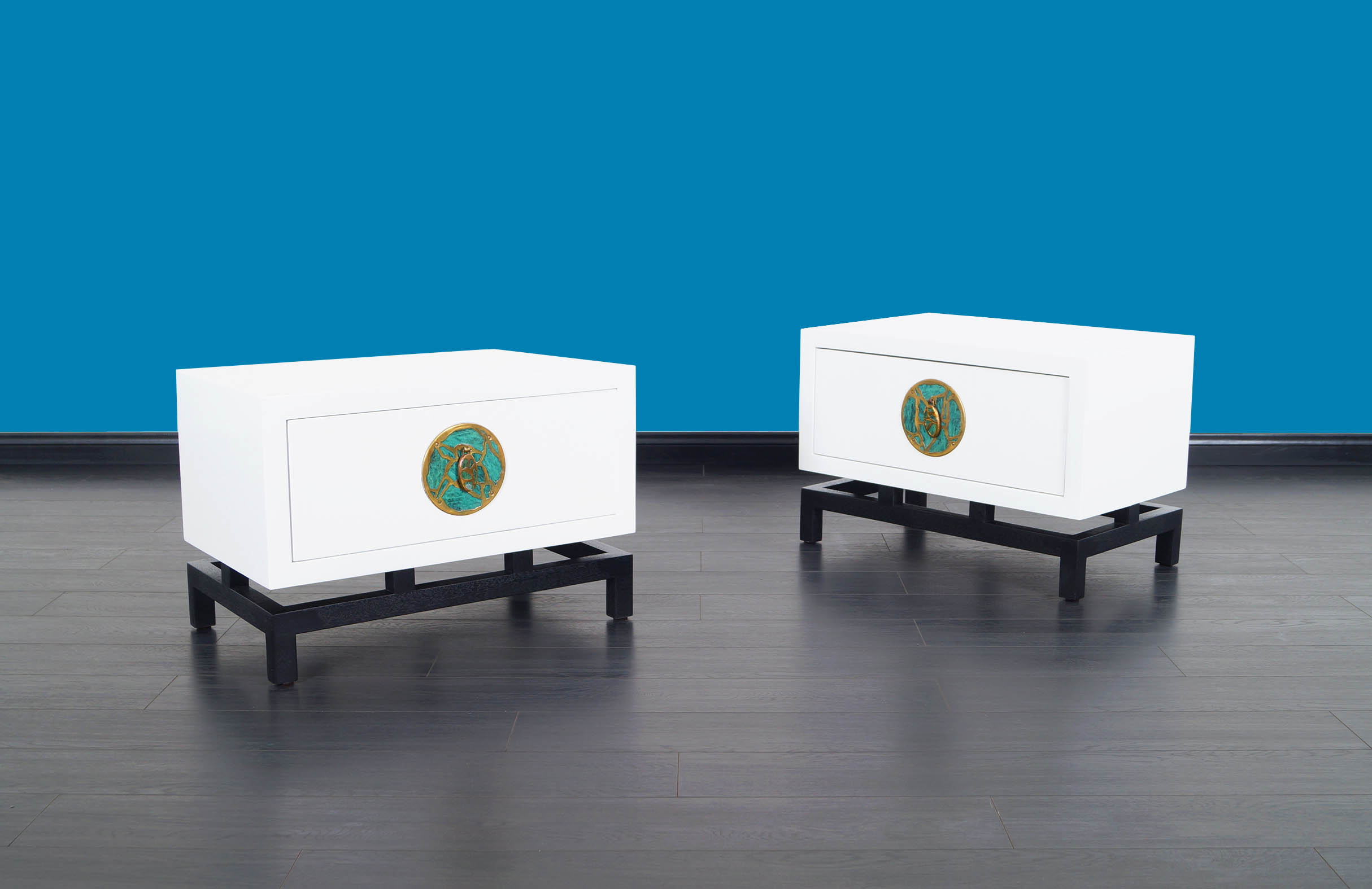 Mexican Modernist Lacquered Nightstands by Frank Kyle