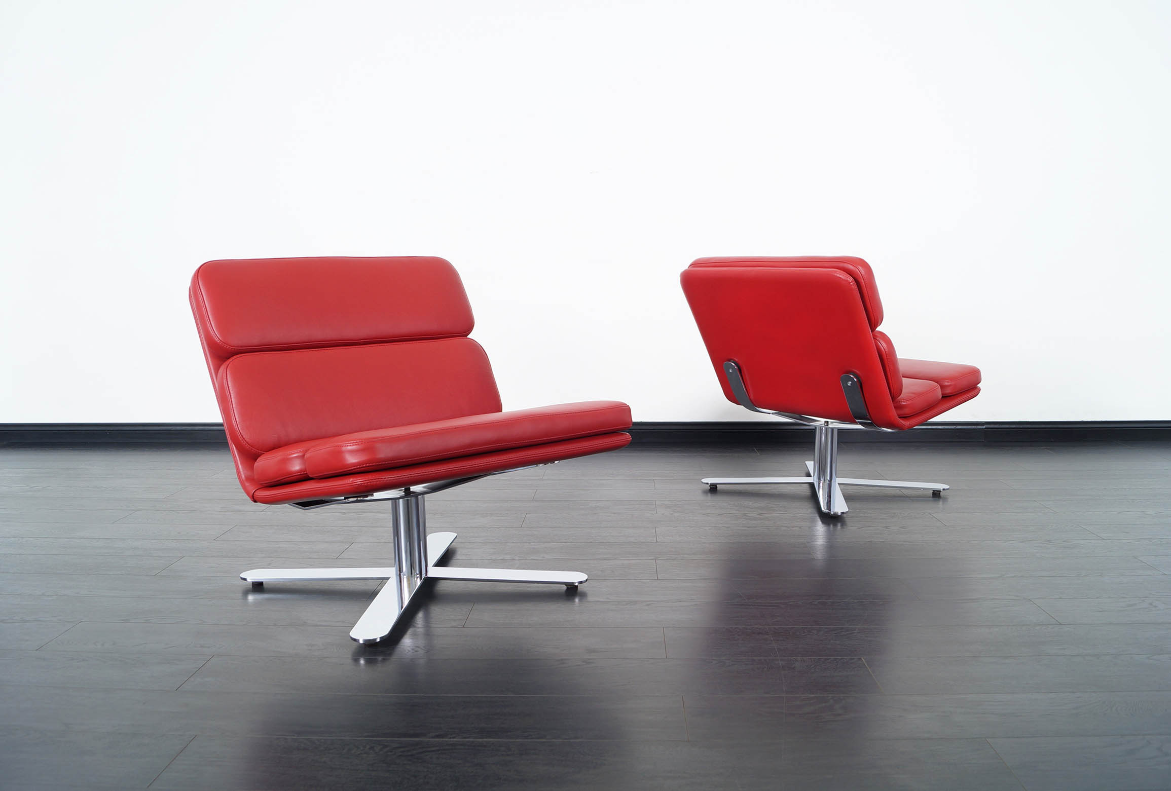 Vintage Leather Solo Chairs by John Follis