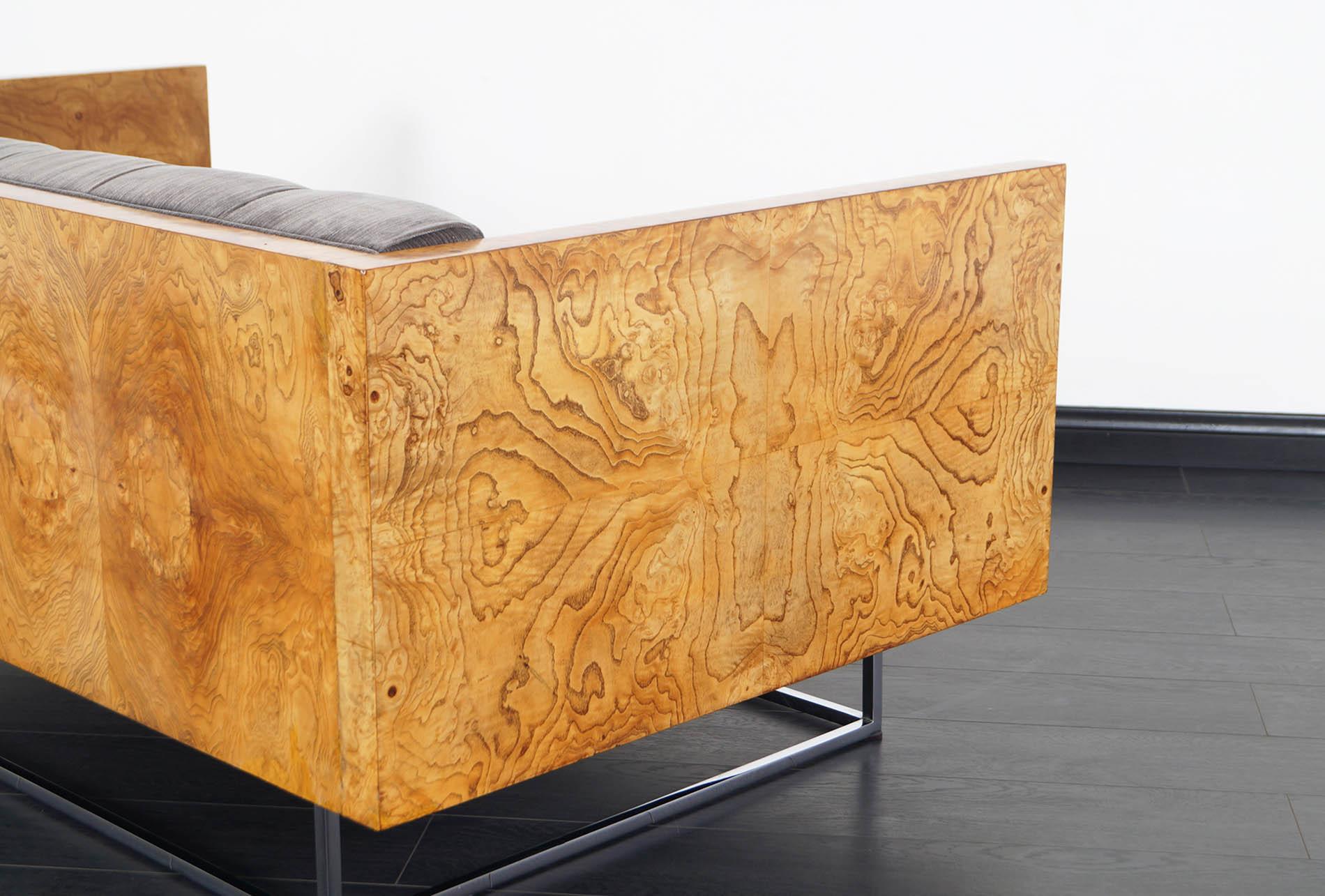 Vintage Burl Wood Case Loveseat by Milo Baughman