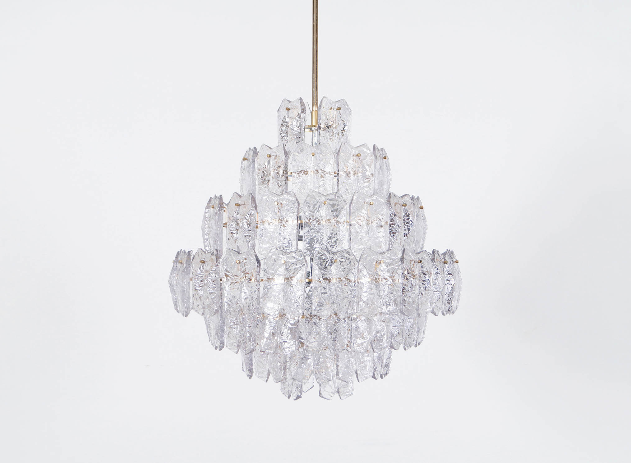 Exceptional Ice Glass Chandelier Attributed to Kalmar