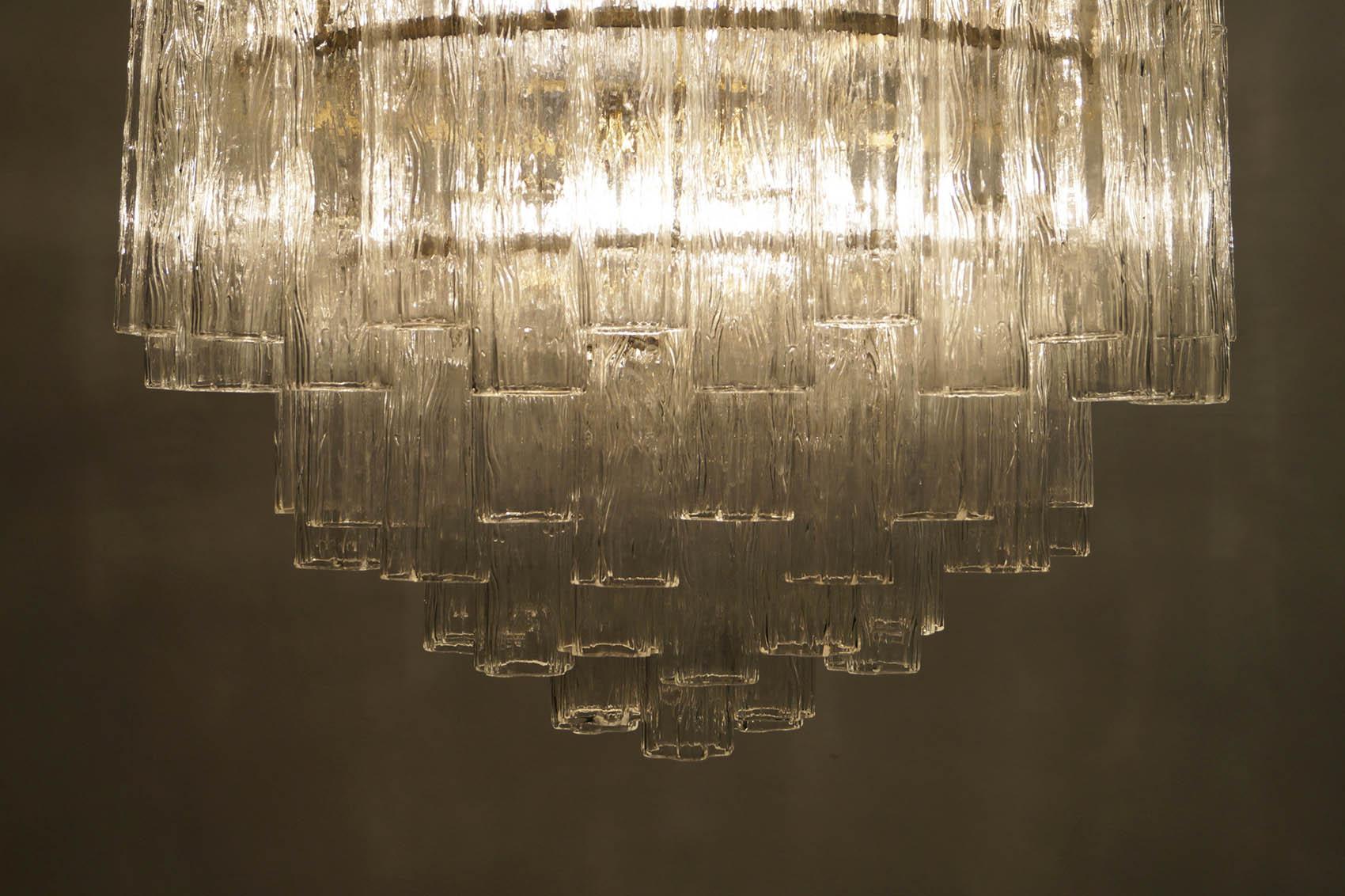 Vintage Italian Tronchi Glass Chandelier by Venini