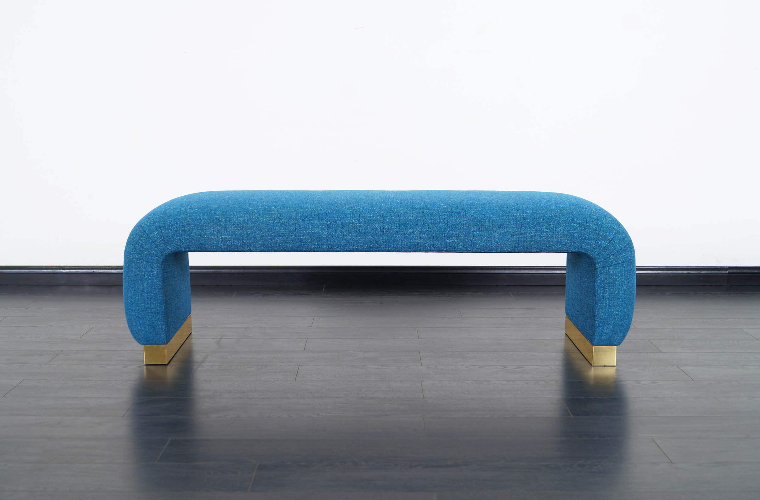 Vintage Brass Waterfall Bench by Karl Springer