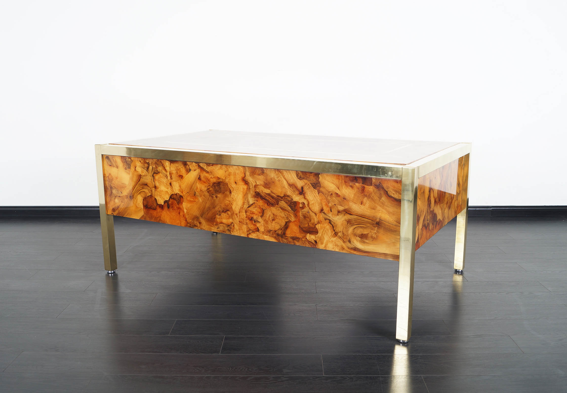 Monumental Executive Burl Wood Desk by Pace Collection