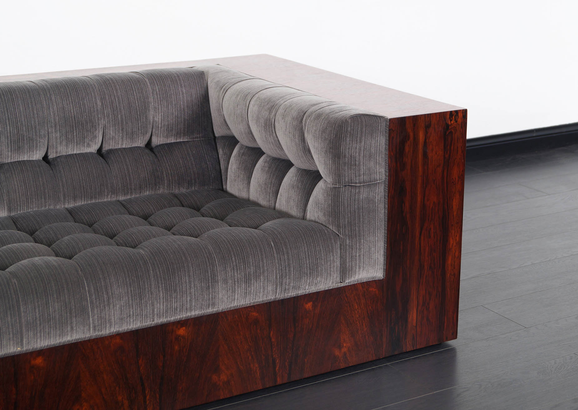Thayer Cogging Rosewood Sofa by Milo Baughman