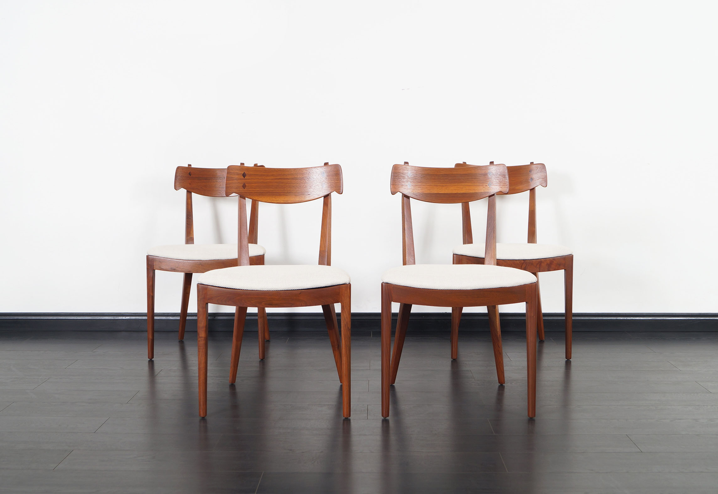 Vintage Walnut Dining Chairs by Kipp Stewart