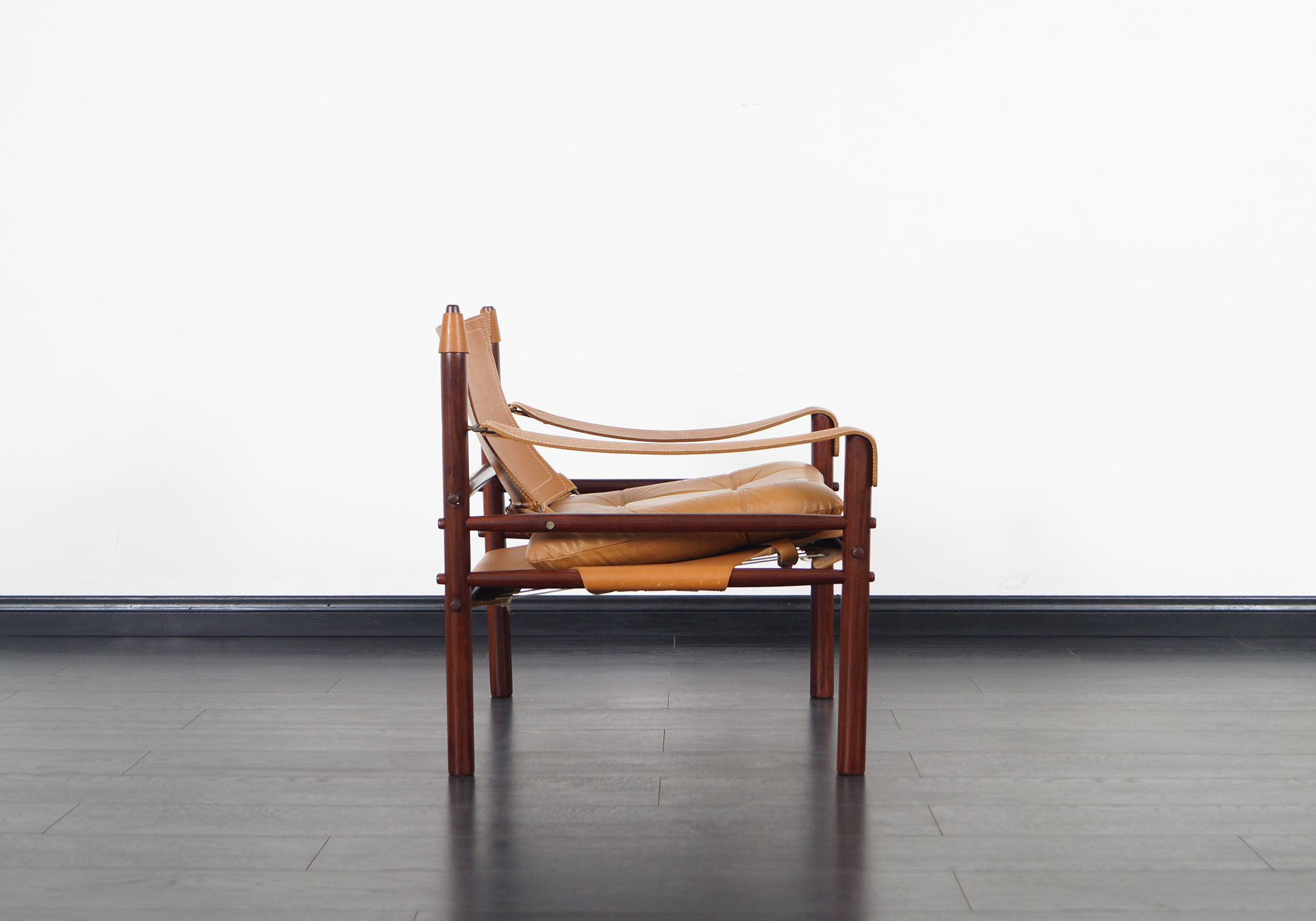 Rosewood Sirocco Leather Lounge Chairs by Arne Norell