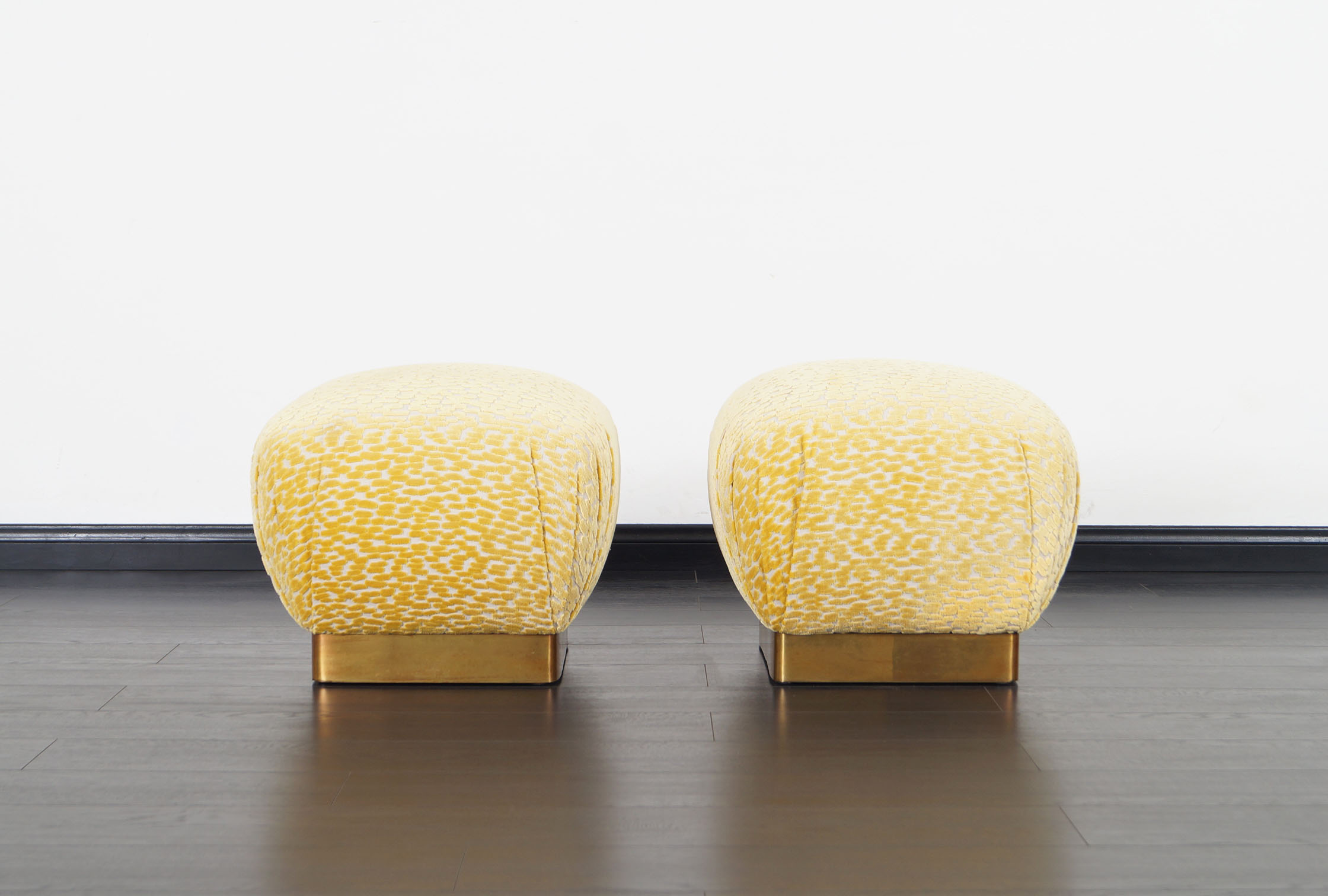 Vintage Brass Poufs by Marge Carson
