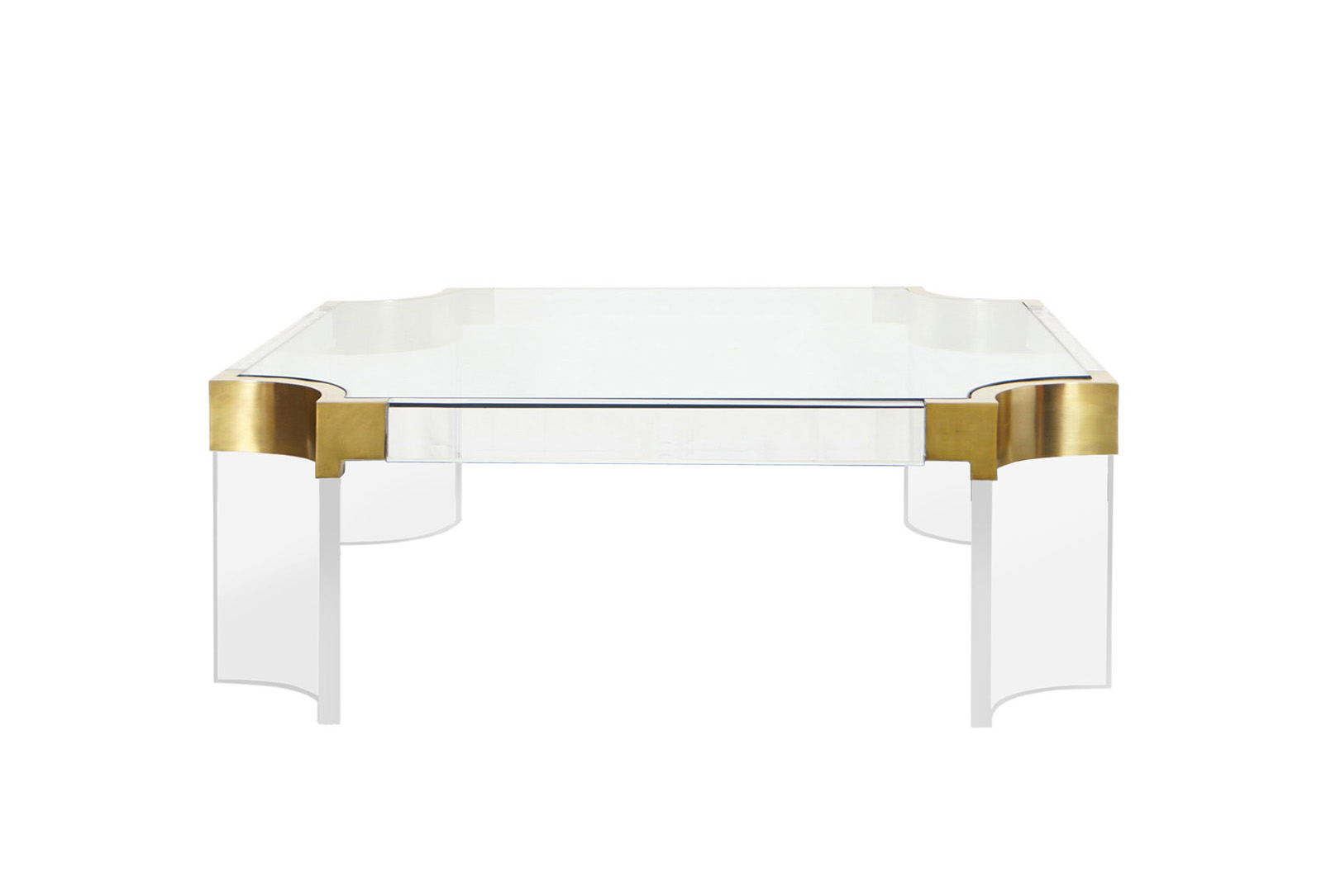 Brass and Lucite Waterfall Line Coffee Table by Charles Hollis Jones
