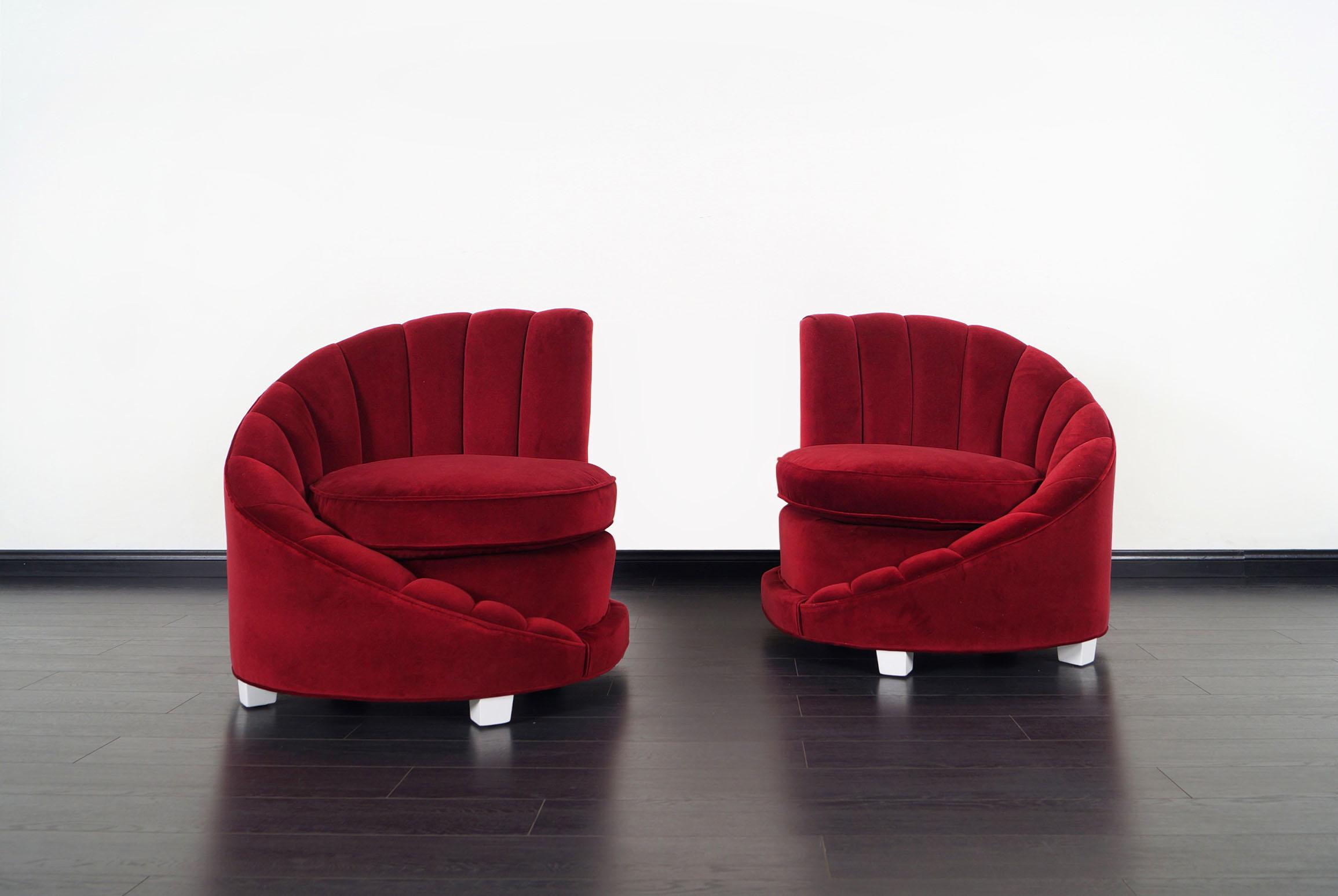 Hollywood Regency Asymmetrical Velvet Chairs