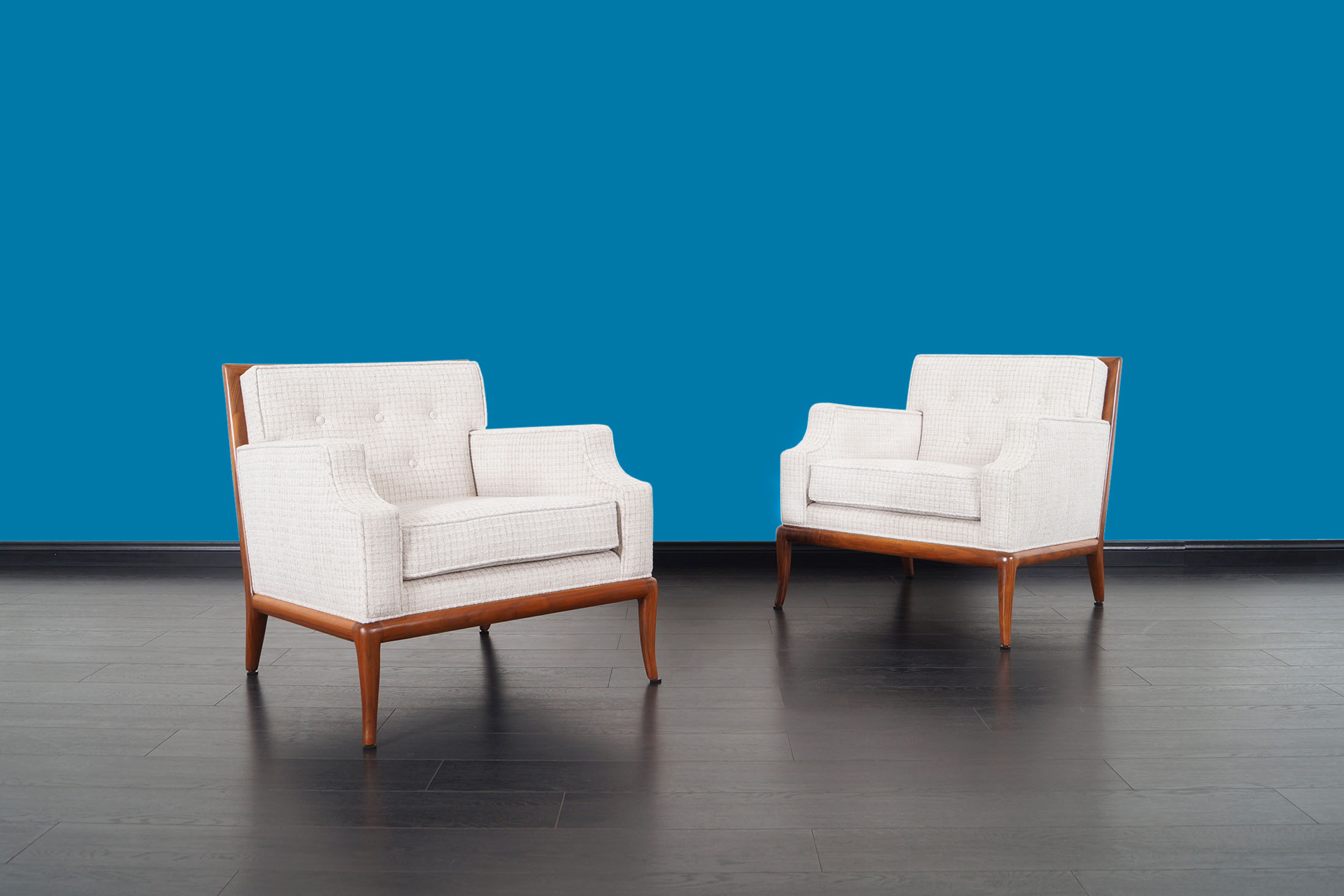 Widdicomb Walnut Lounge Chairs by T.H. Robsjohn-Gibbing