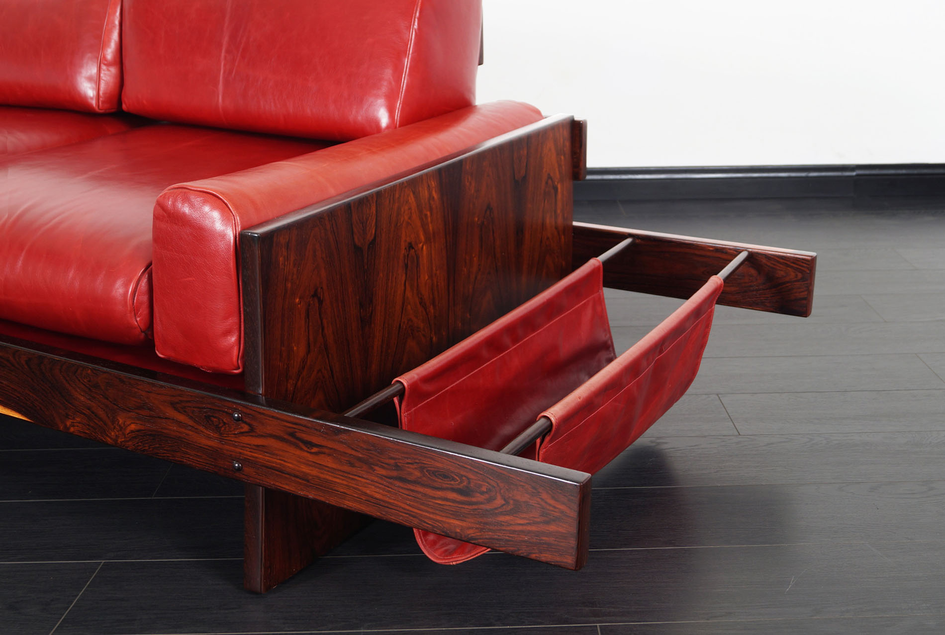 Brazilian Rosewood & Leather Sofa Attributed to Celina Moveis