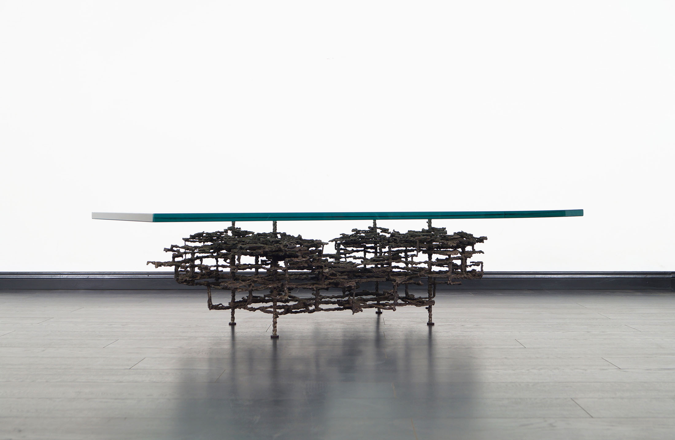 Vintage Brutalist Bronze Coffee Table by Daniel Gluck