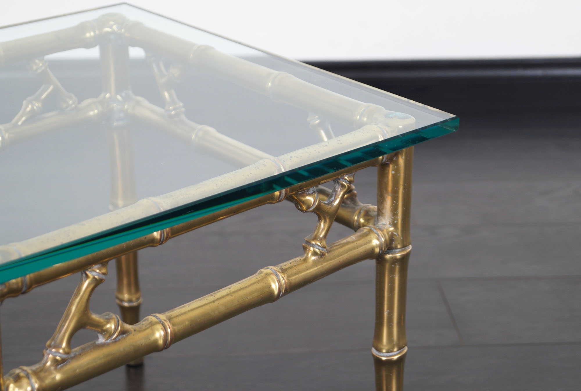 Hollywood Regency Brass Faux Bamboo Side Tables