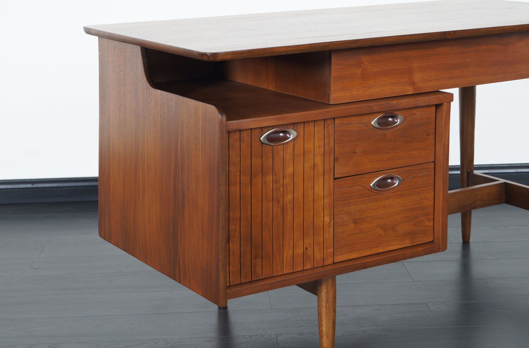 Mid Century Walnut Mainline Desk by Hooker