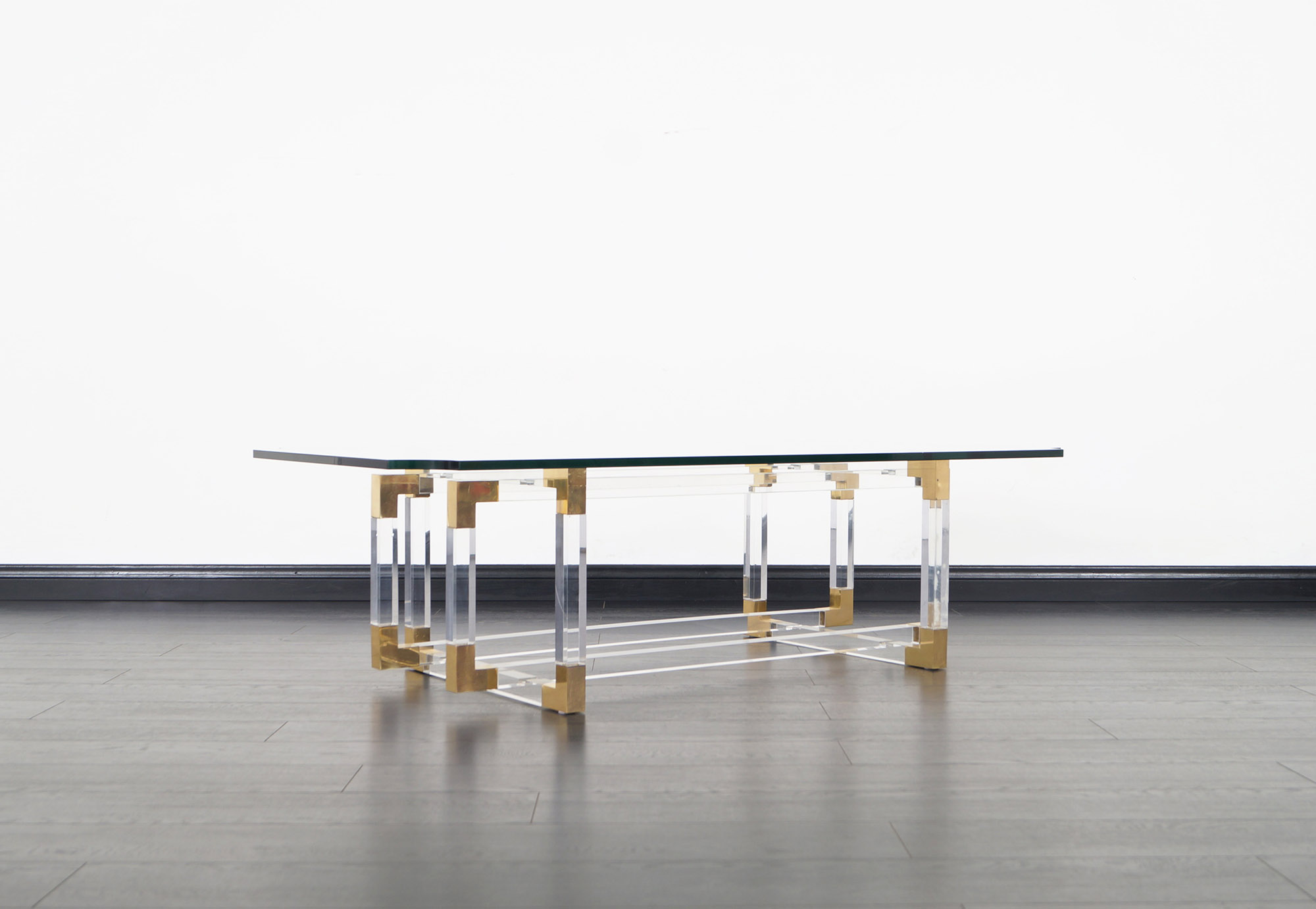 Acrylic and Brass Metric Line Coffee Table by Charles Hollis Jones