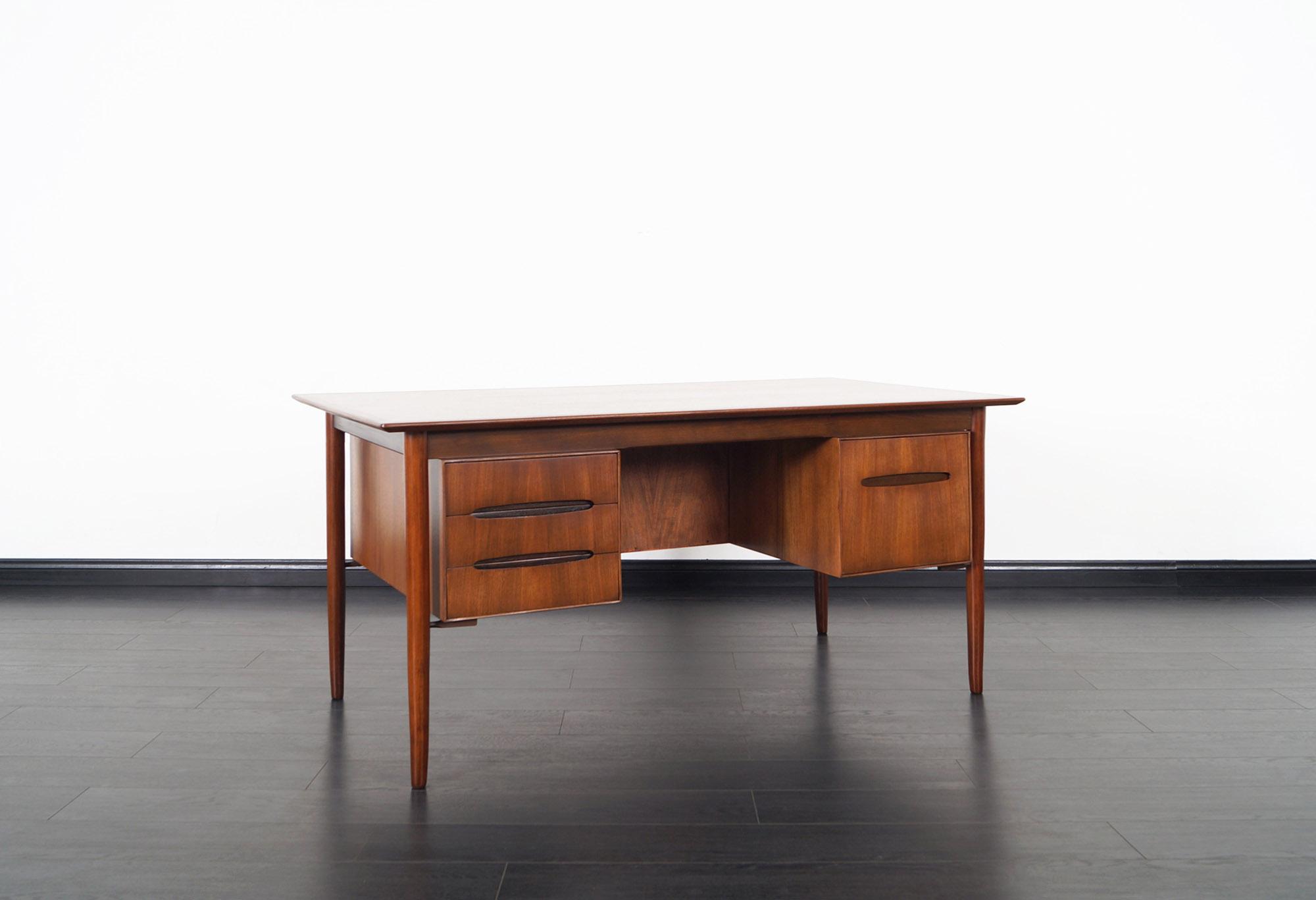 Danish Modern Walnut Desk by Ib Kofod Larsen