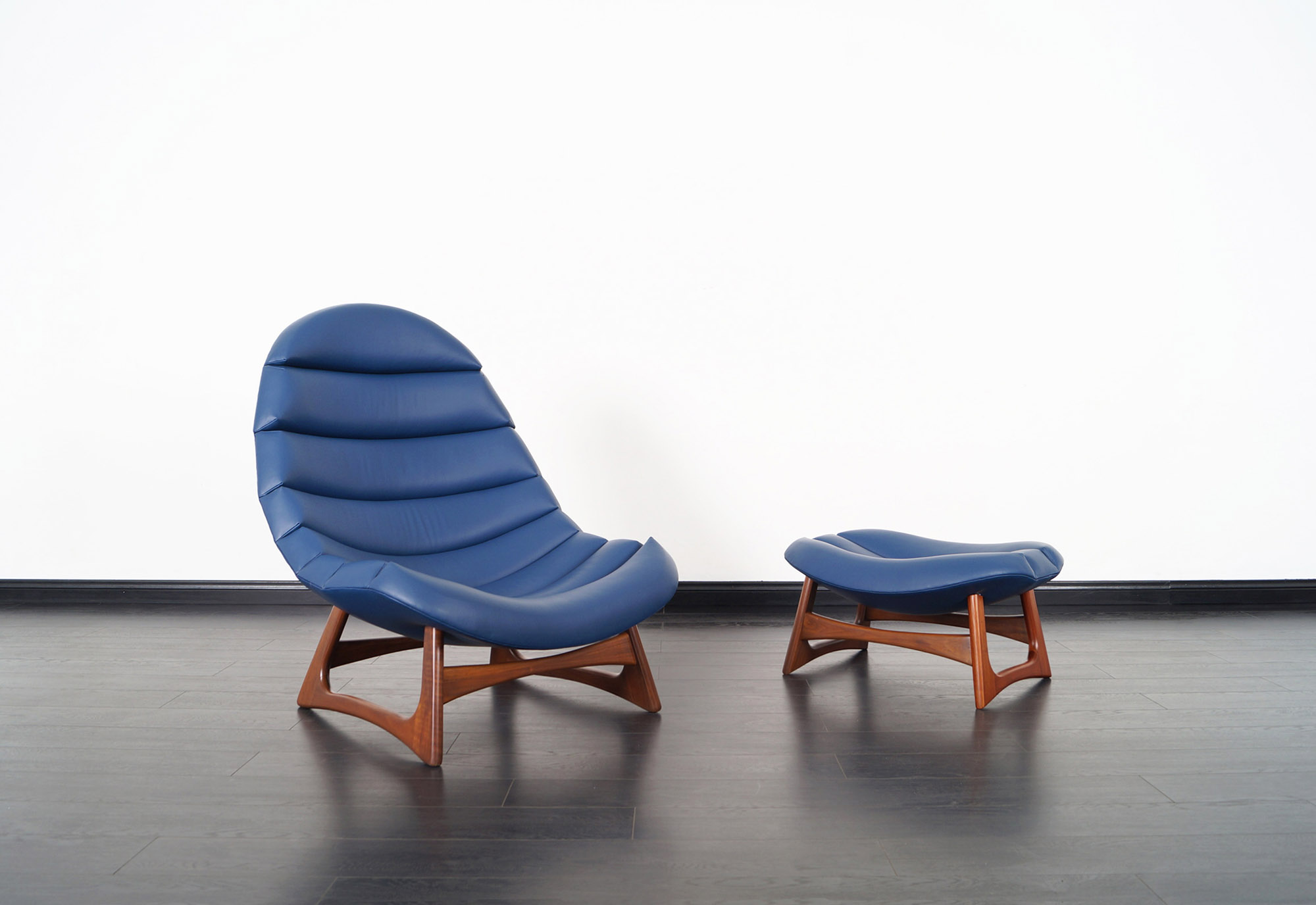 Rare Leather Lounge Chair and Ottoman by Adrian Pearsall