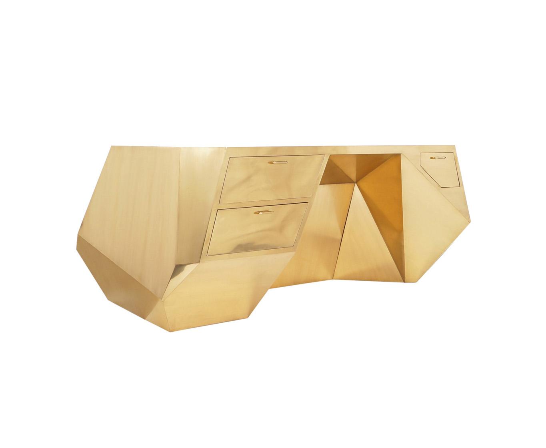 Monumental Brass Geometric Popova Desk