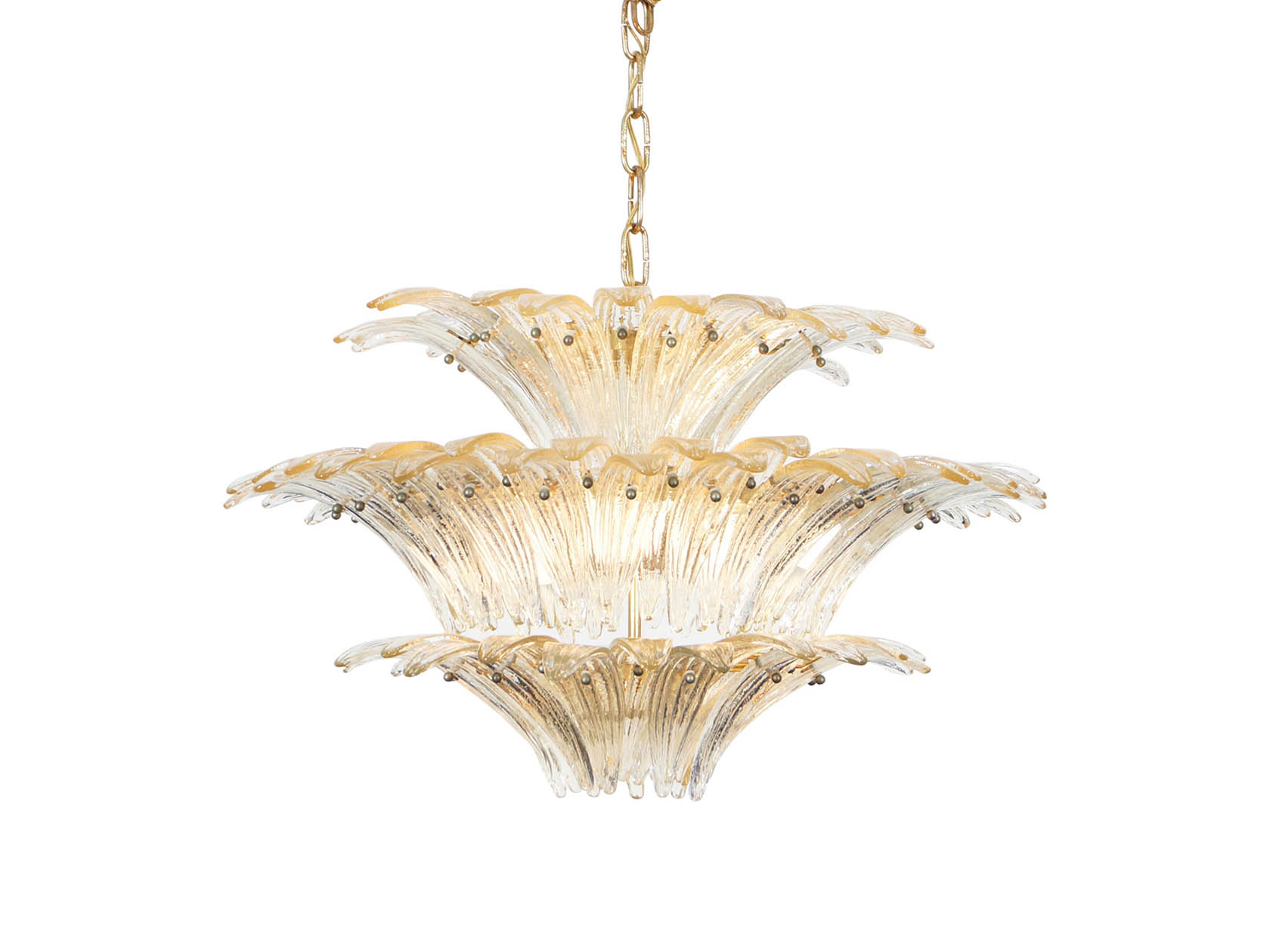Spectacular Italian Murano Glass Palmette Chandelier by Barovier & Toso
