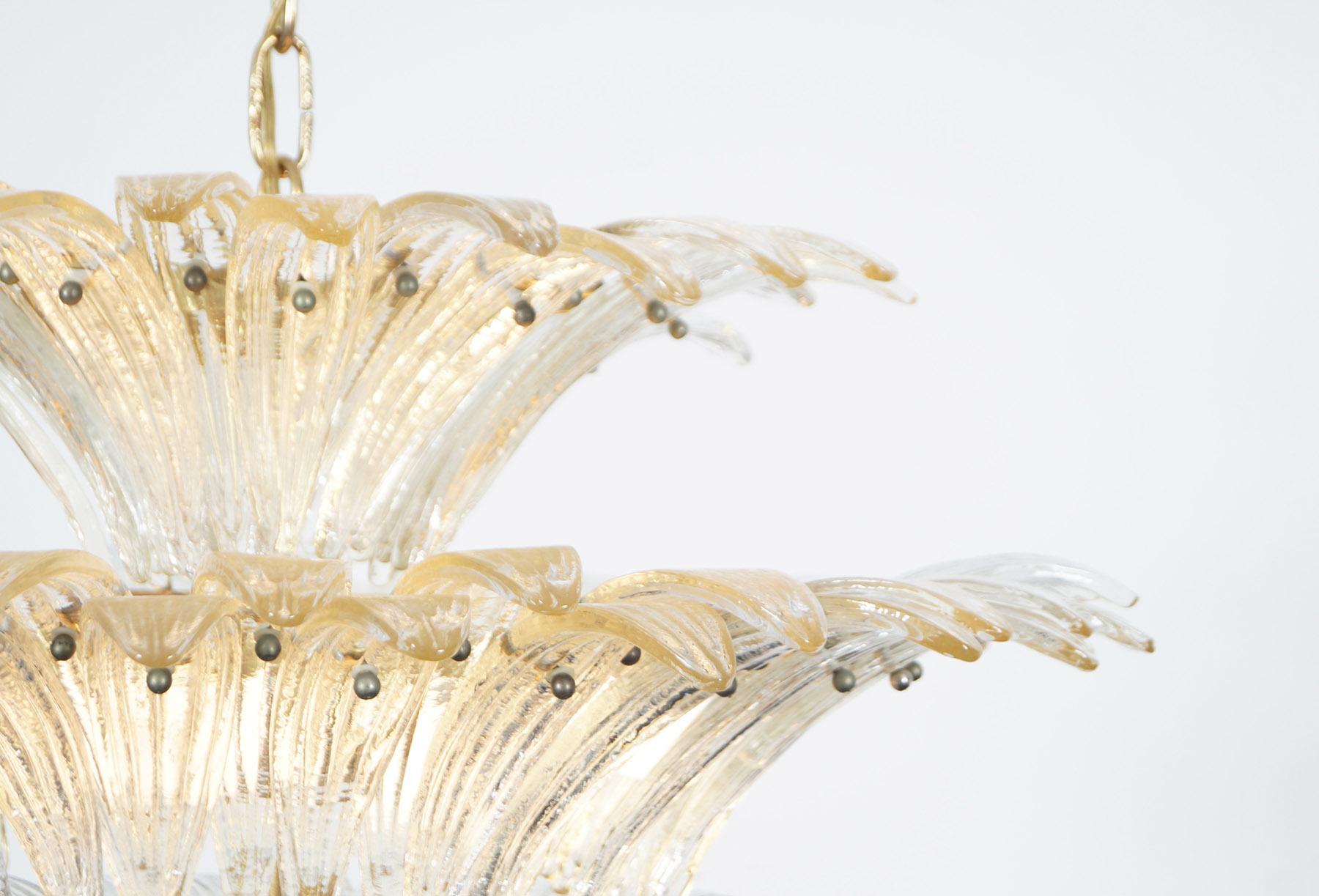 Spectacular Italian Murano Glass Palmette Chandelier by Barovier & Toso