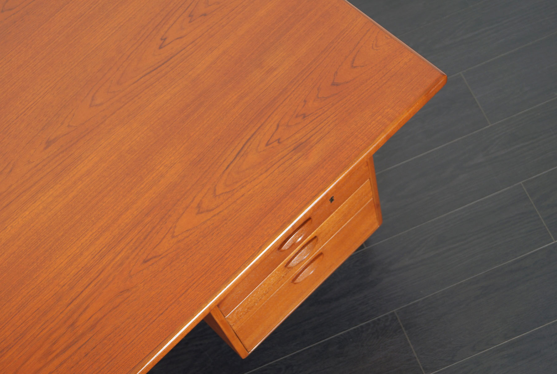 Danish Teak Floating Top Desk by Kai Kristiansen