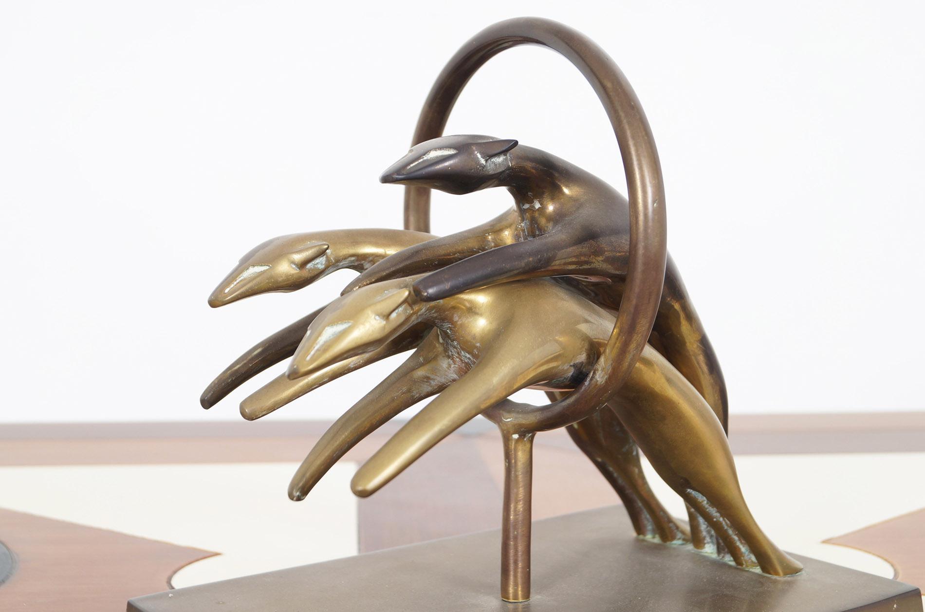 Vintage Brass Greyhound Paperweight