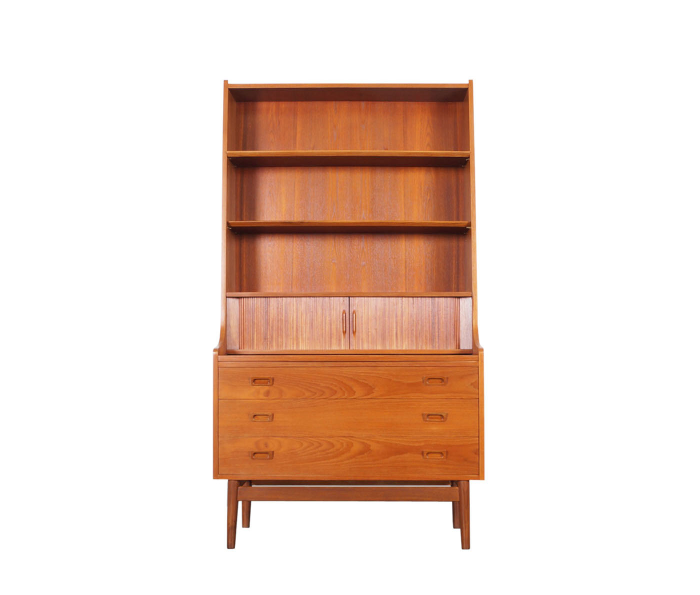 Danish Teak Secretary Desk and Bookcase by Johannes Sorth